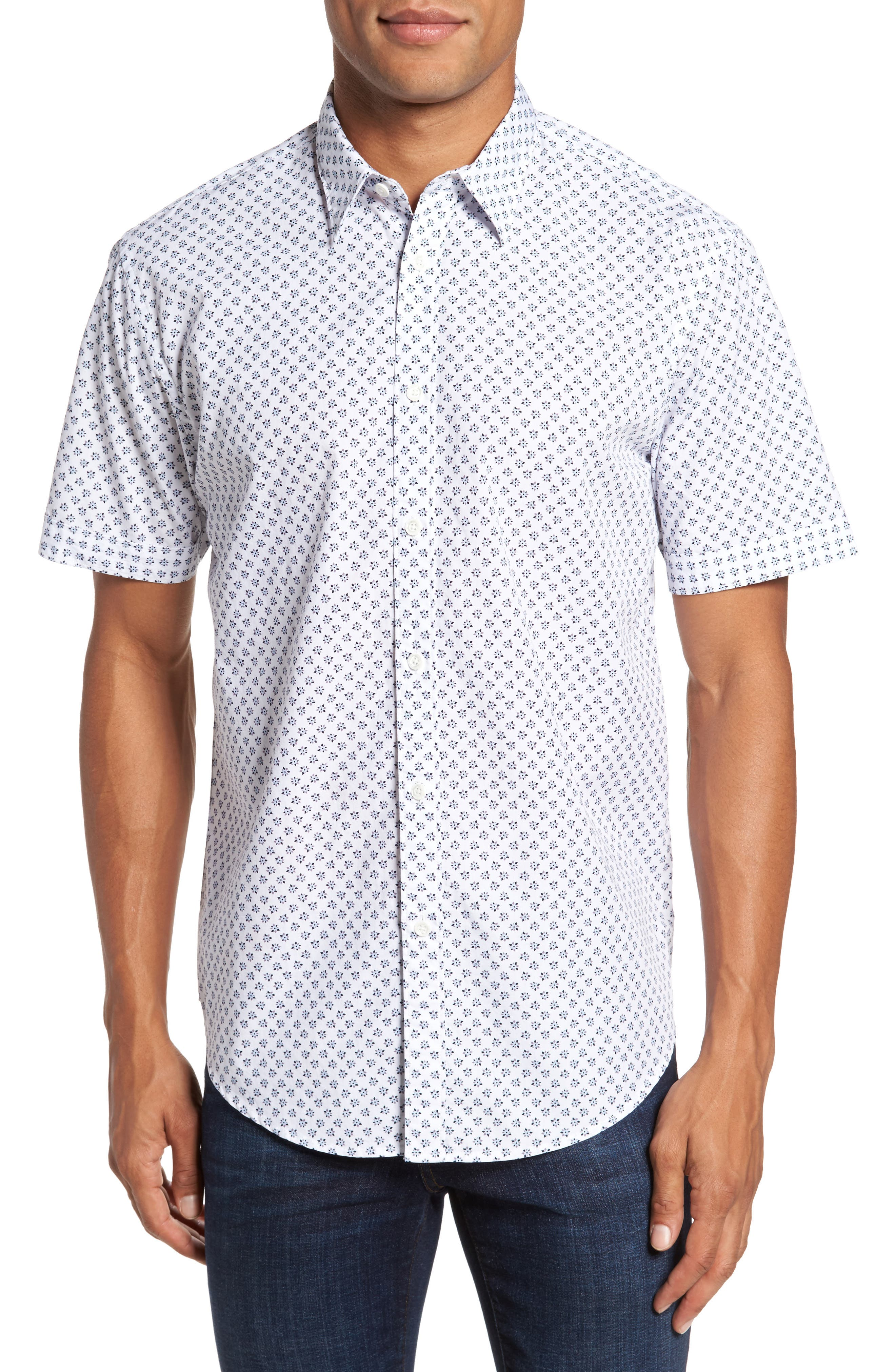 Santo Regular Fit Print Sport Shirt,                         Main,                         color, 001