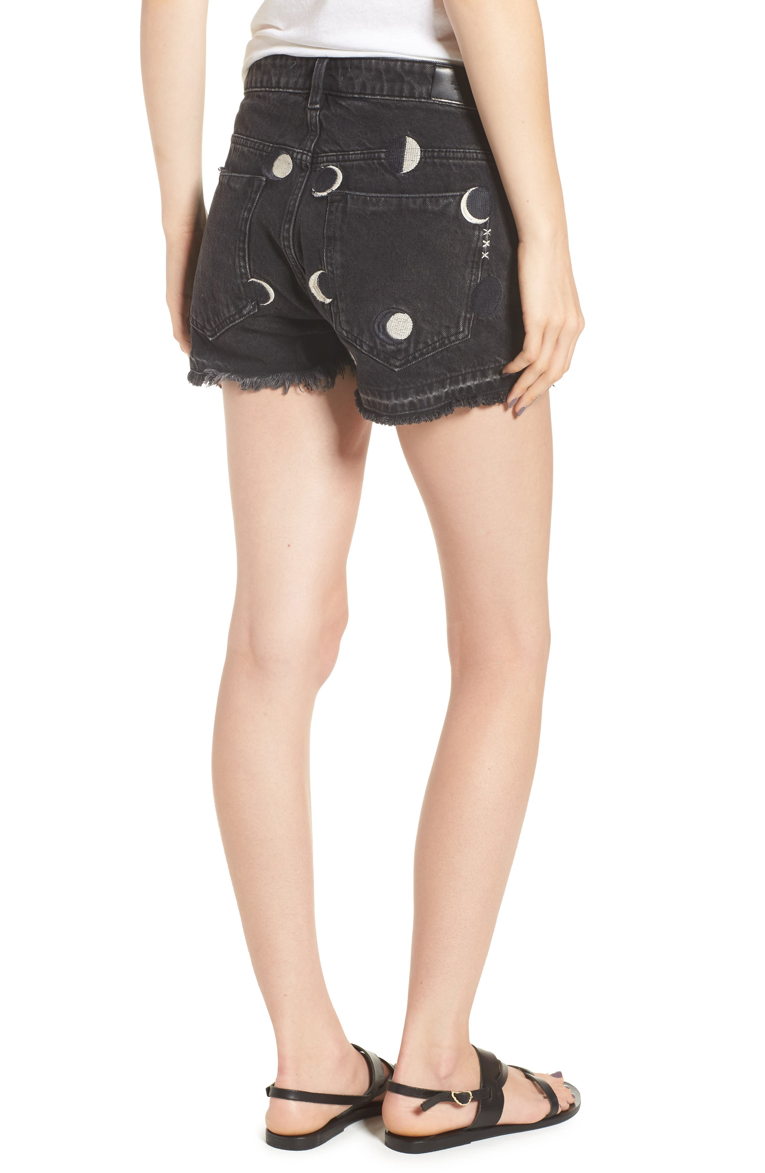 Seasonal Festival Embroidered Denim Shorts,                             Alternate thumbnail 2, color,                             721
