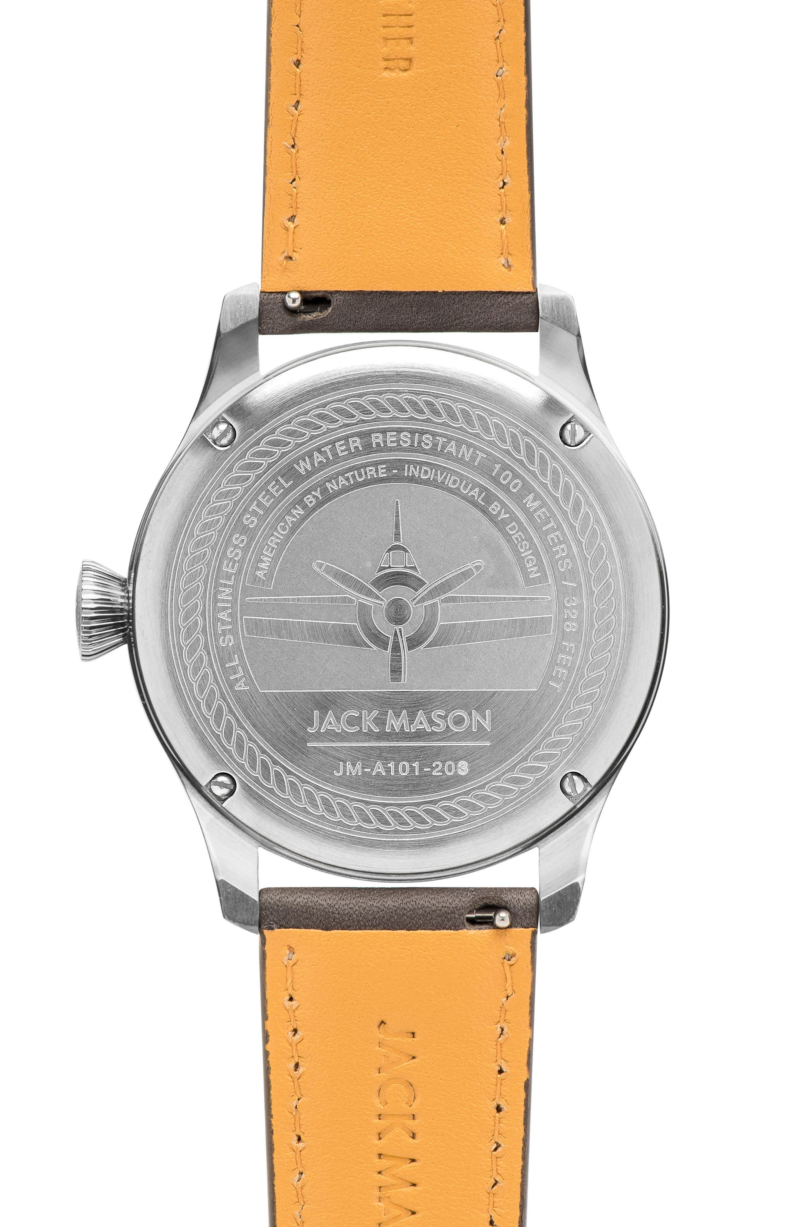 Aviation Leather Strap Watch, 42mm,                             Alternate thumbnail 2, color,                             020