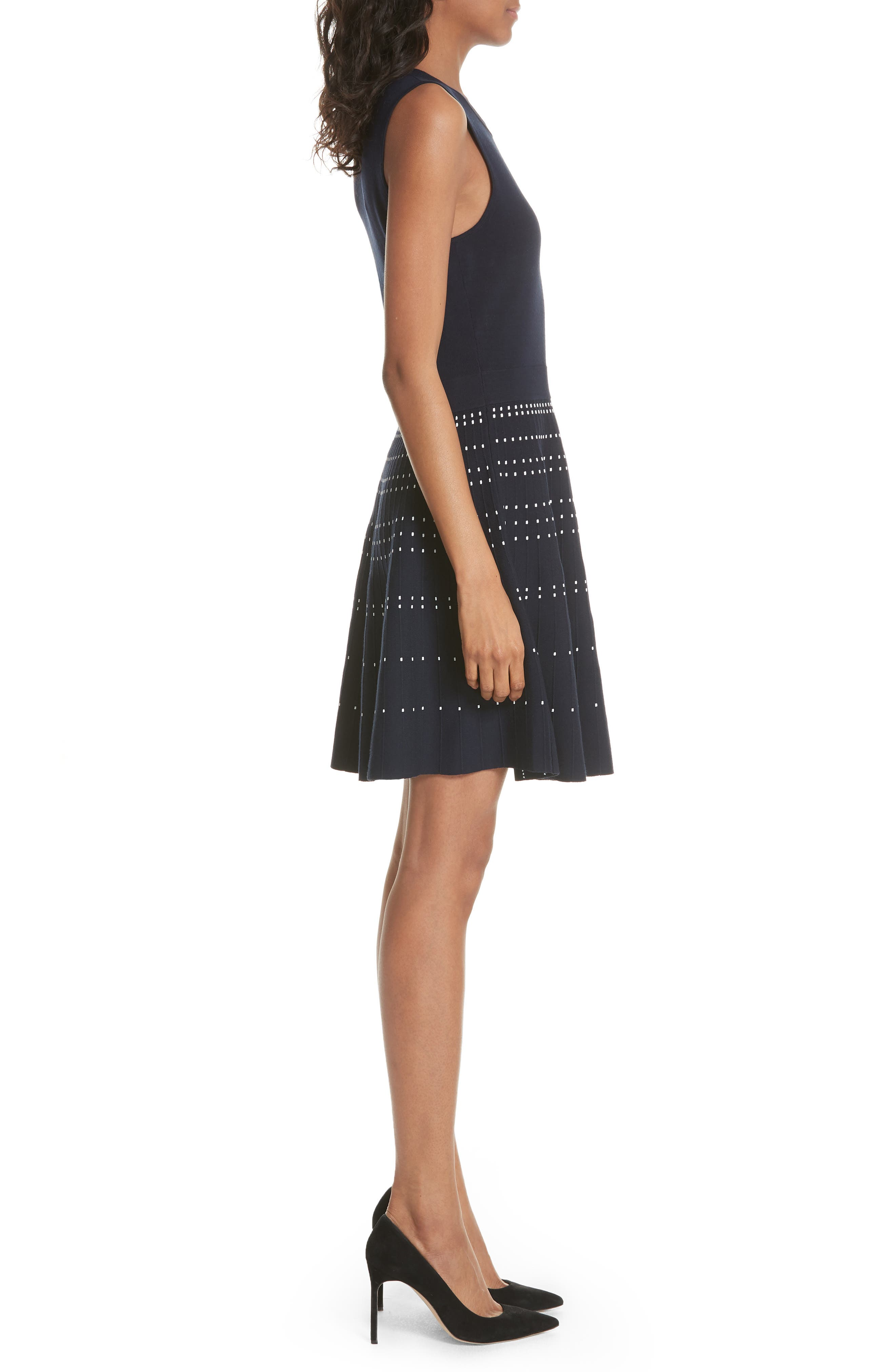 textured fit & flare sweater dress,                             Alternate thumbnail 3, color,                             473