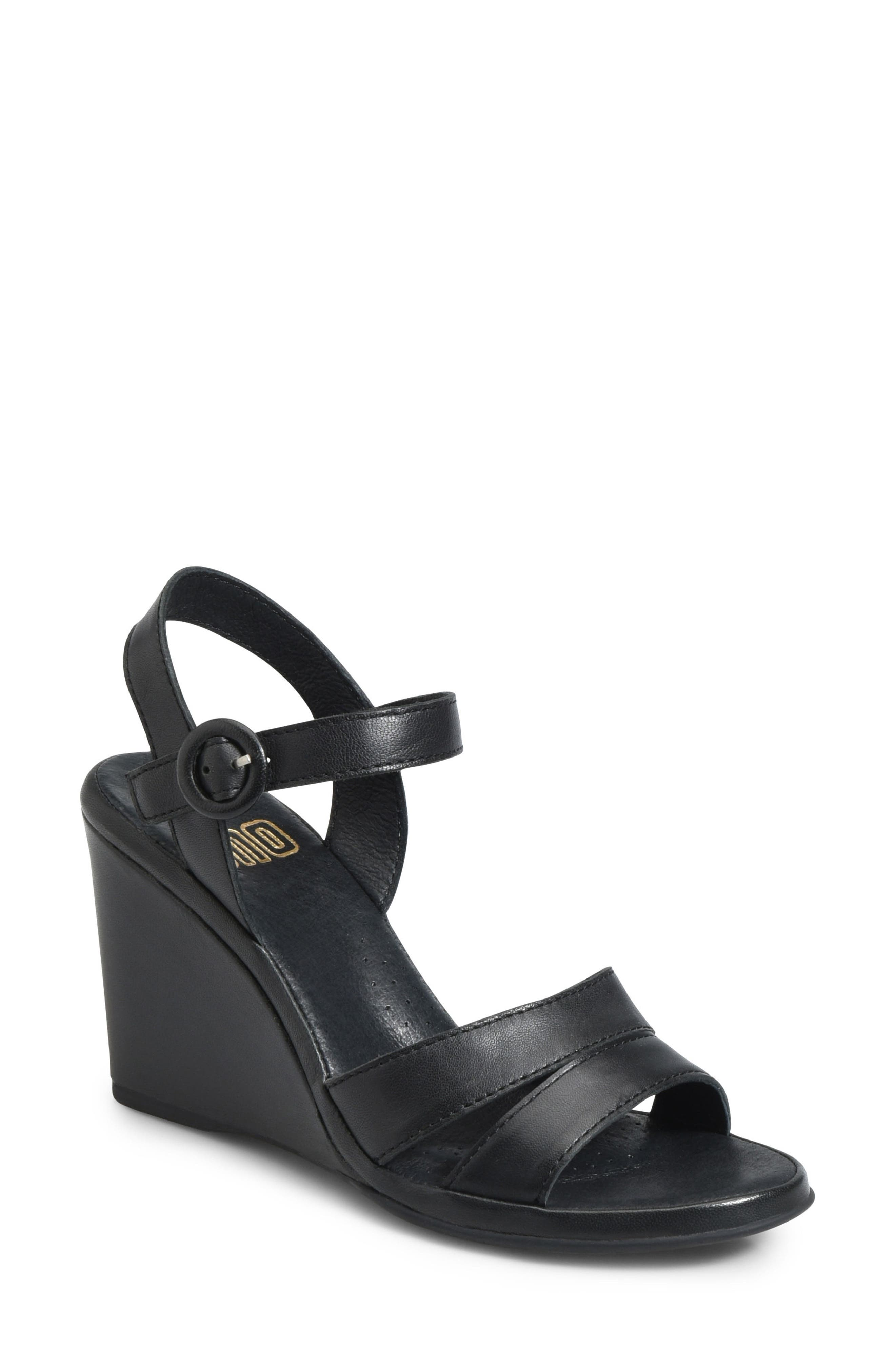 Hydro Wedge Sandal,                         Main,                         color, BLACK LEATHER