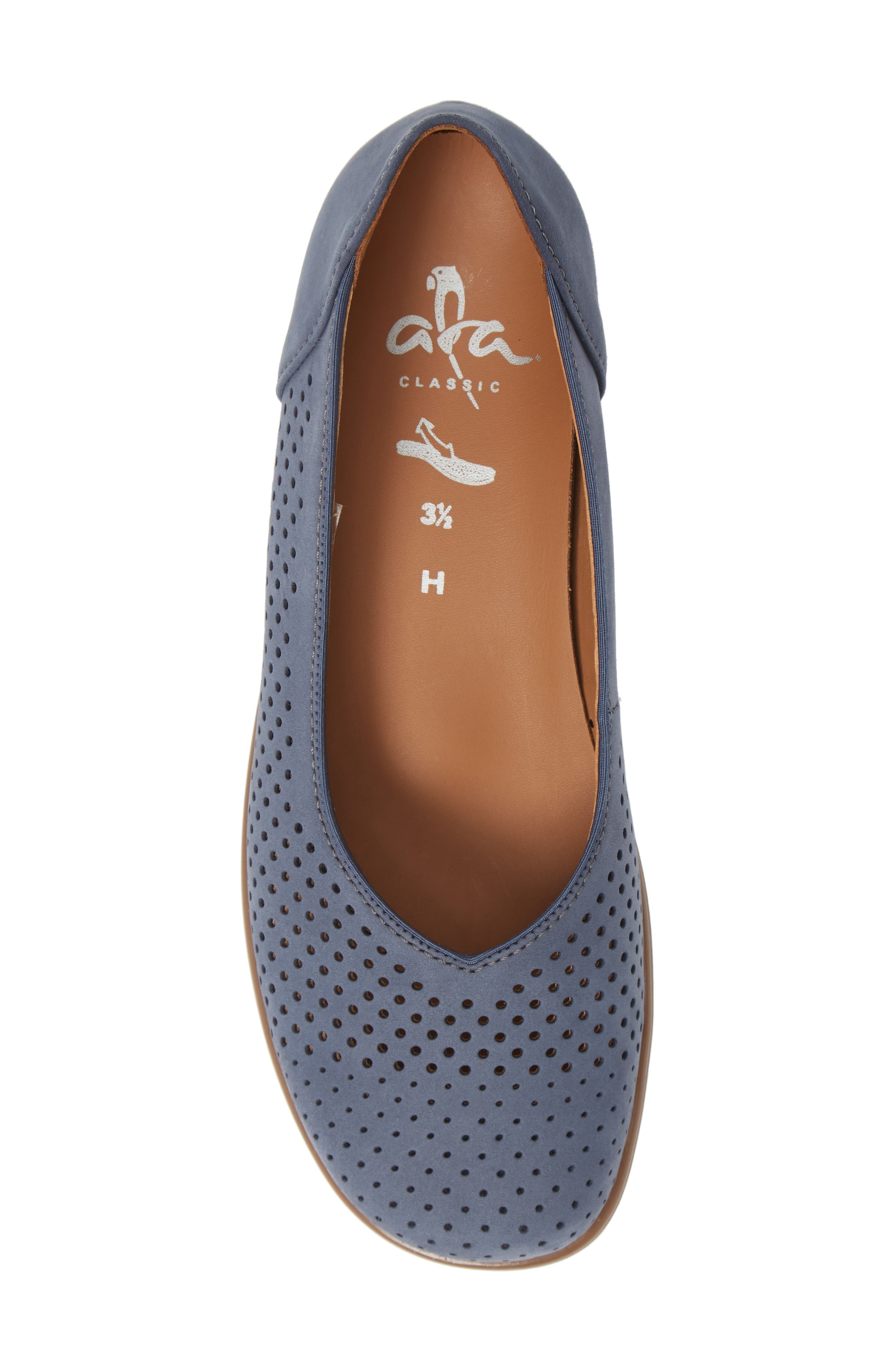 ARA,                             Avril Perforated Flat,                             Alternate thumbnail 5, color,                             JEANS NUBUCK LEATHER