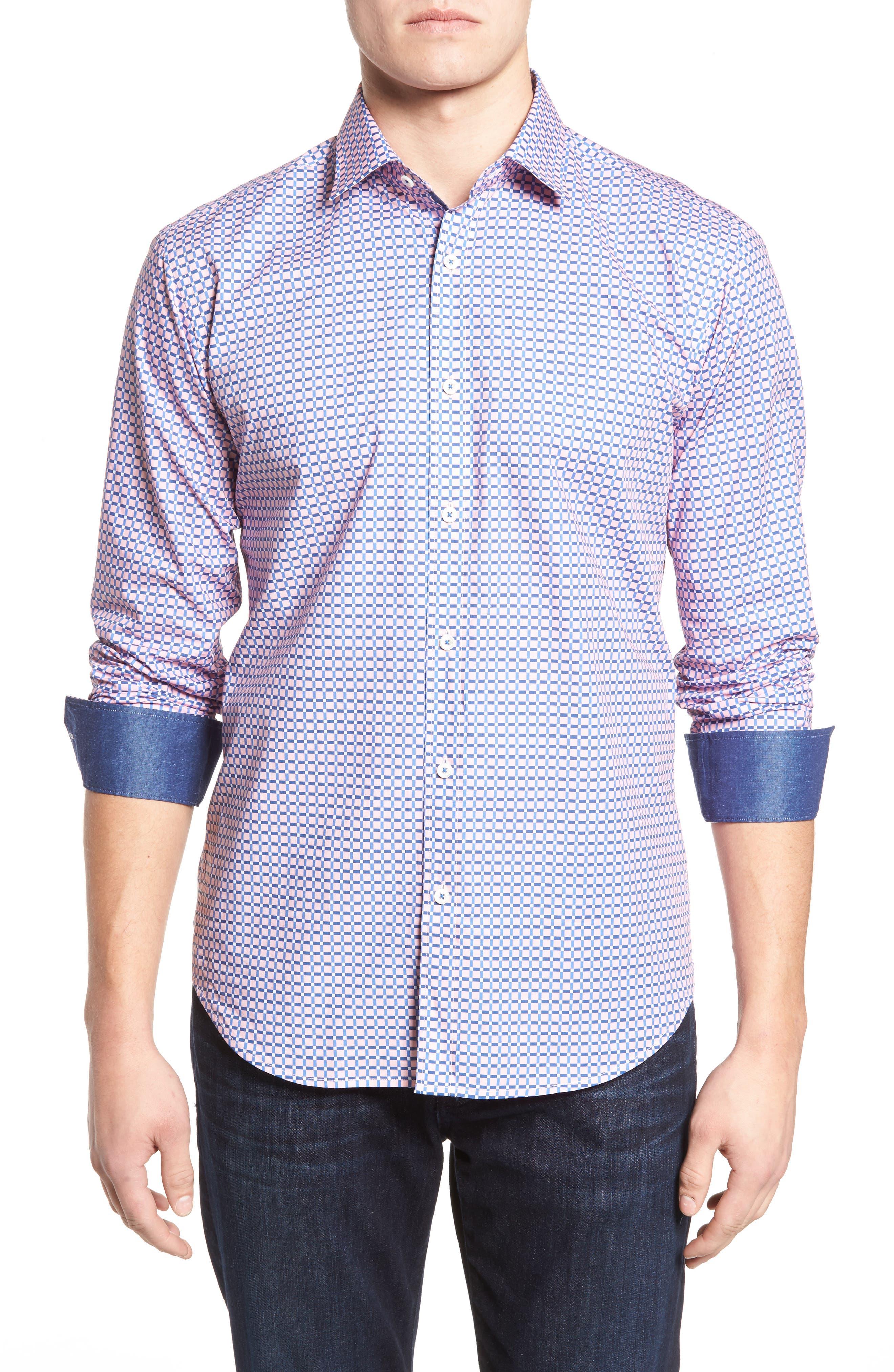 Shaped Fit Grid Print Sport Shirt,                         Main,                         color, 682