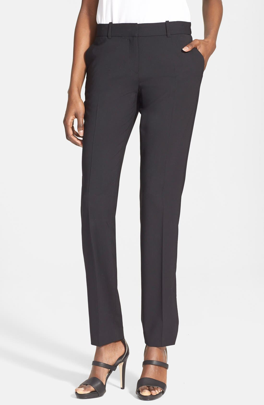 'Super Slim Edition' Stretch Wool Pants,                             Main thumbnail 1, color,                             001