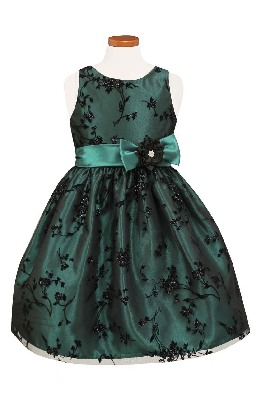 Taffeta Fit & Flare Dress,                             Main thumbnail 1, color,                             300