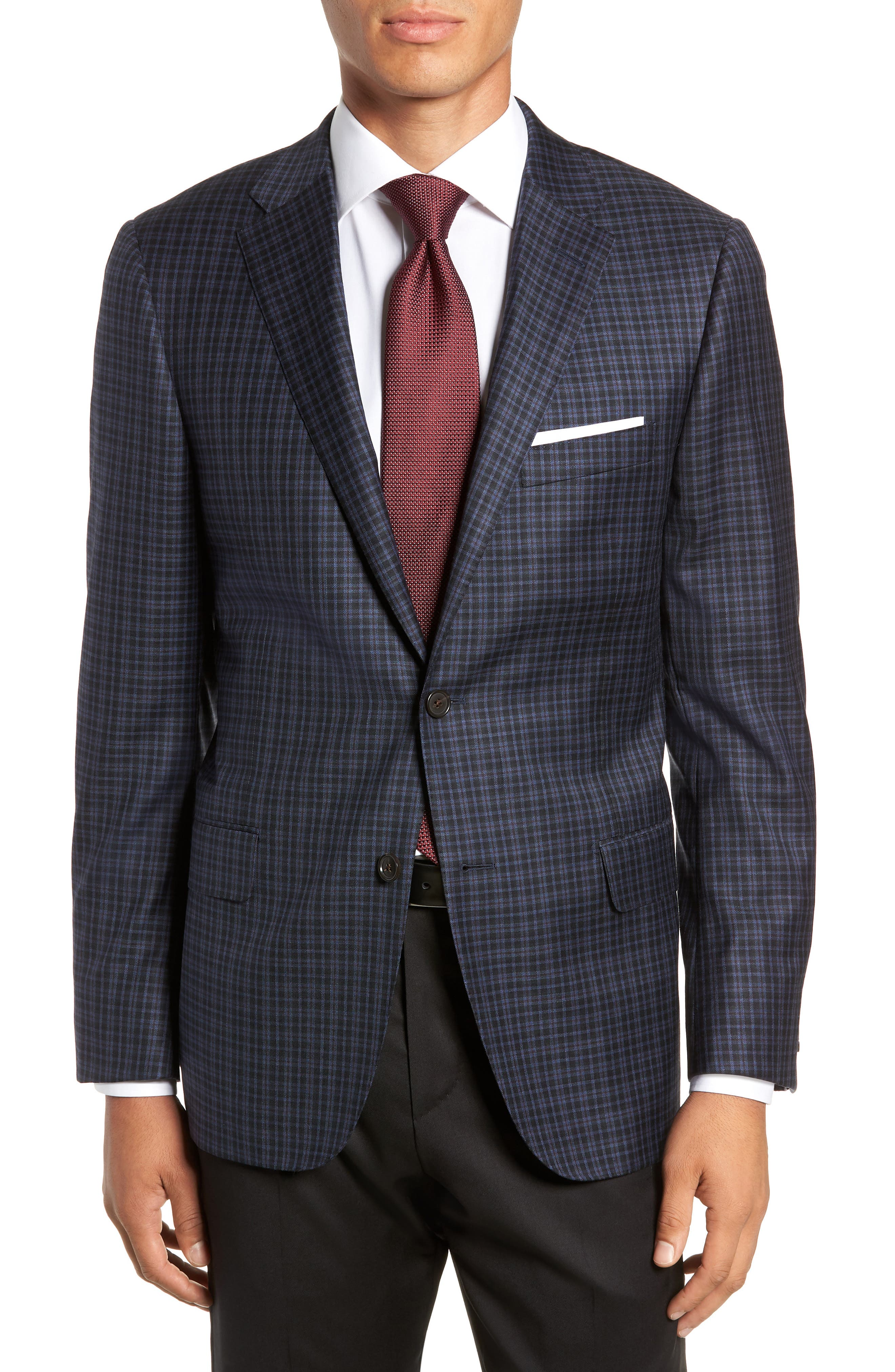 HICKEY FREEMAN Classic Fit Plaid Wool Sport Coat in Navy