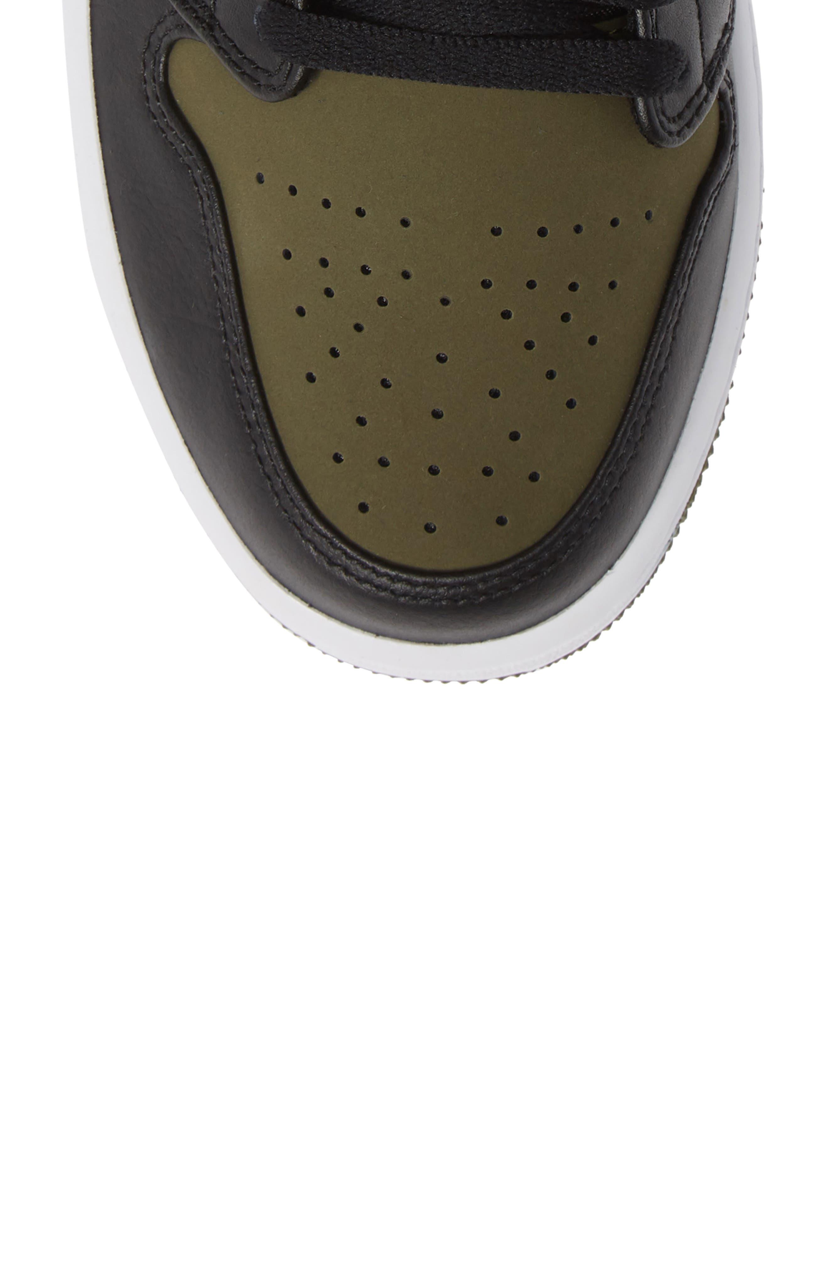 'Air Jordan 1 Mid' Sneaker,                             Alternate thumbnail 5, color,                             OLIVE CANVAS/ BLACK/ WHITE