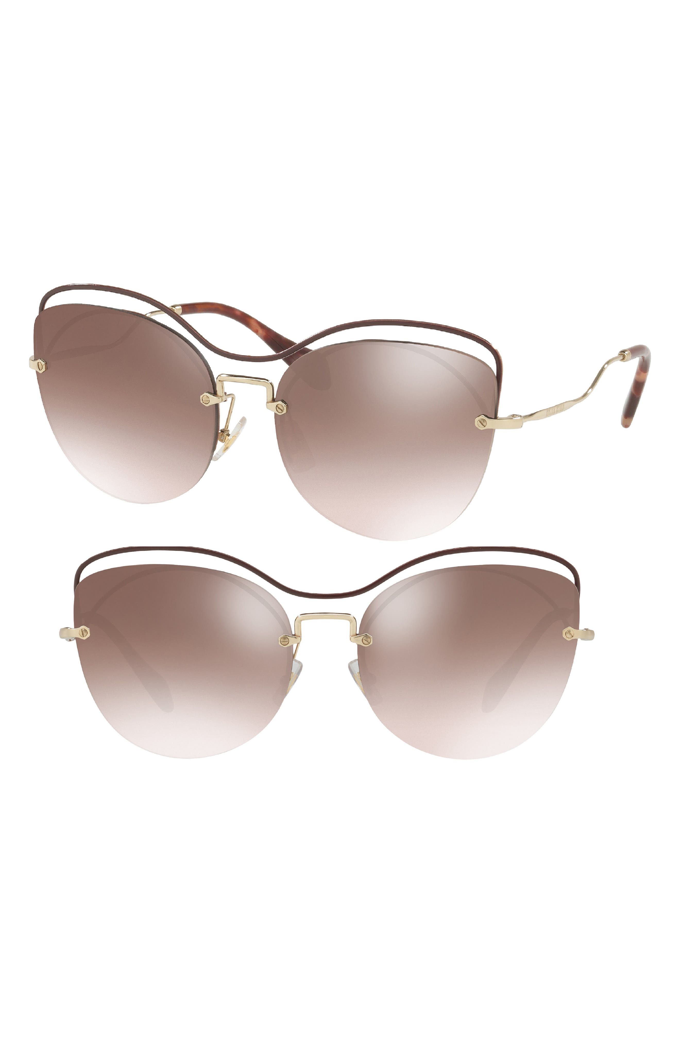 60mm Mirrored Cat Eye Sunglasses,                         Main,                         color, BROWN