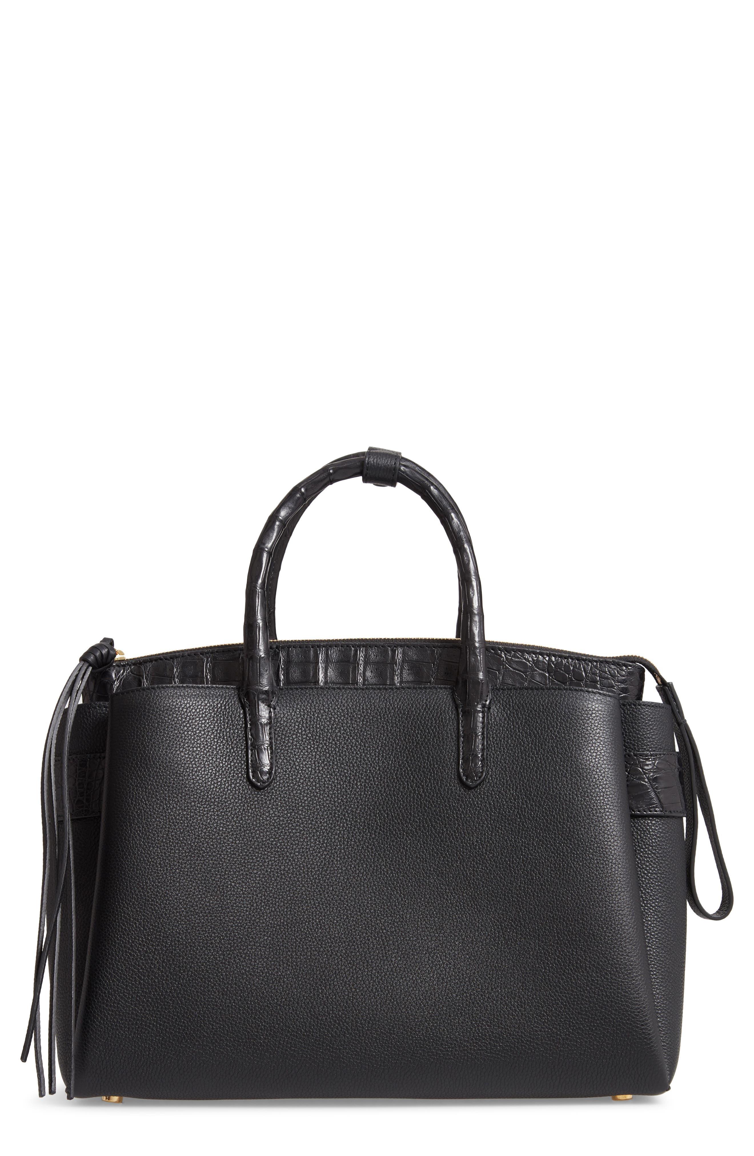 Cristie Leather & Genuine Crocodile Satchel - Black in Black Matte