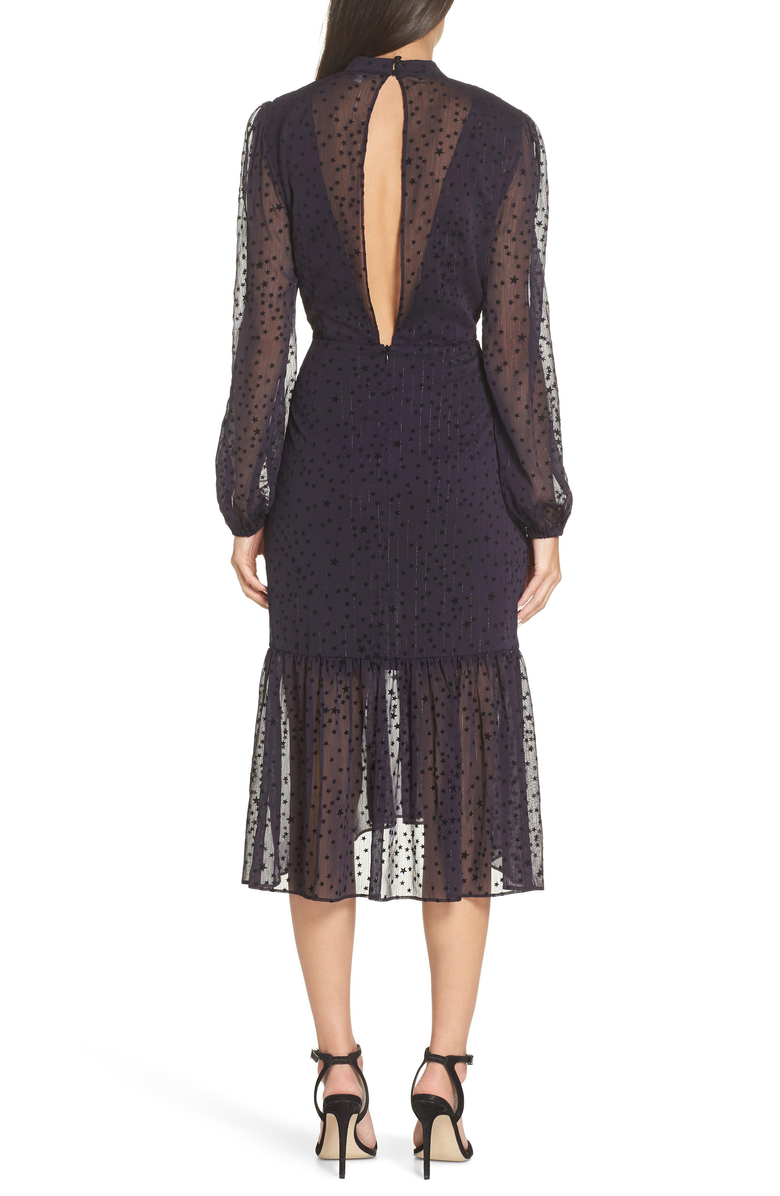 AVEC LES FILLES,                             Flocked Star Ruffle Dress,                             Alternate thumbnail 2, color,                             NAVY/ BLACK