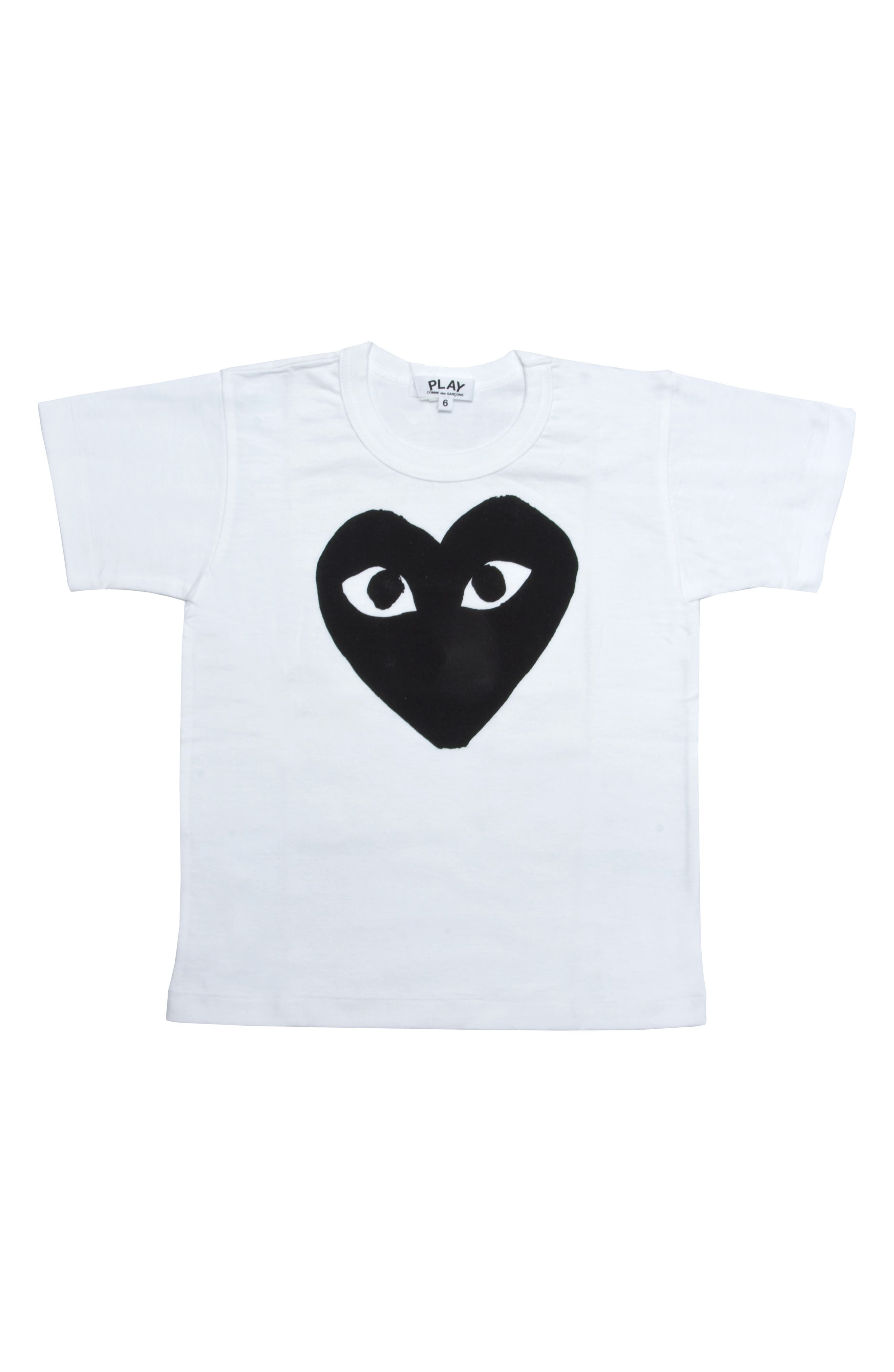 COMME DES GARÇONS PLAY,                             Black Heart Graphic T-Shirt,                             Main thumbnail 1, color,                             WHITE