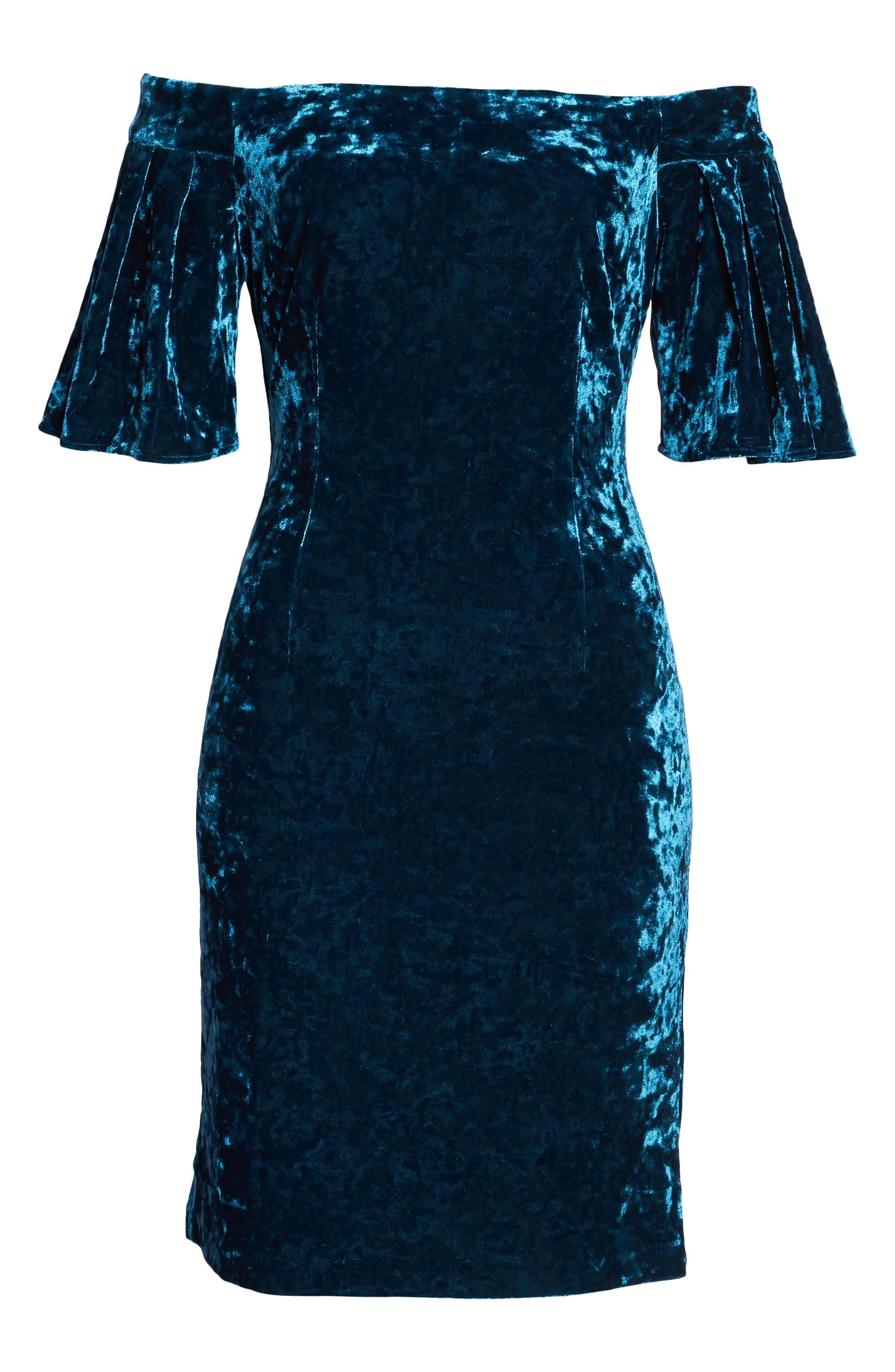Off the Shoulder Velvet Dress,                             Alternate thumbnail 7, color,                             PEACOCK