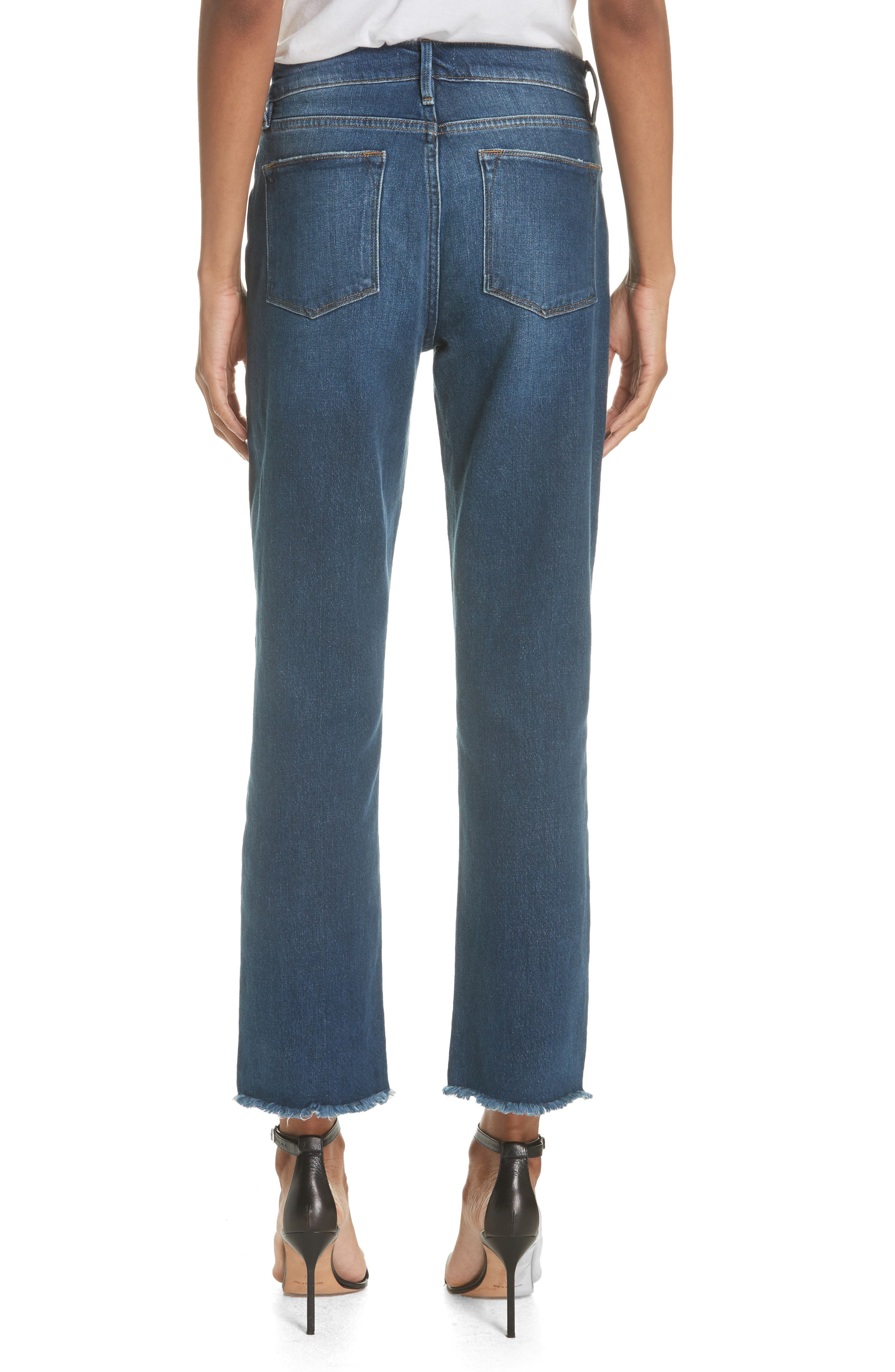 Le High Straight Asymmetrical Hem Jeans,                             Alternate thumbnail 2, color,                             401