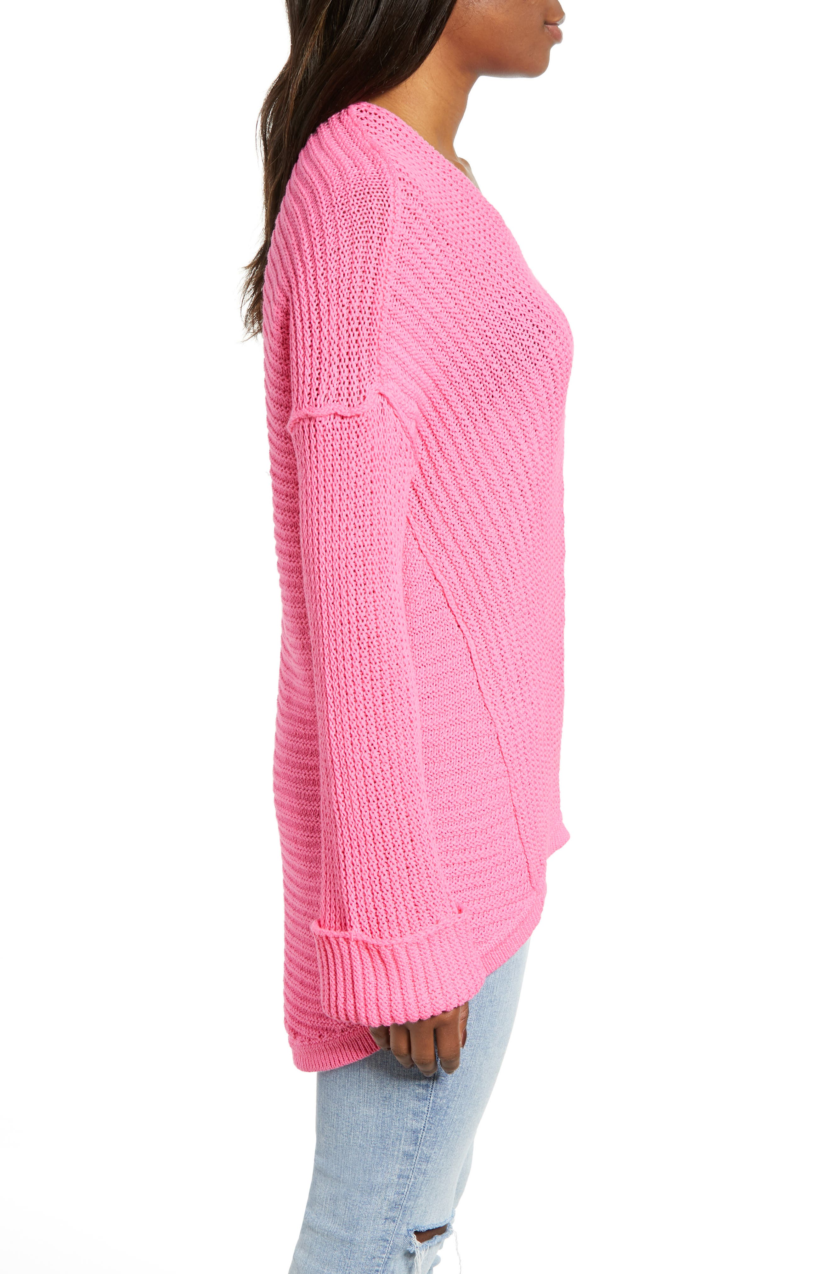 CASLON<SUP>®</SUP>,                             Cuffed Sleeve Sweater,                             Alternate thumbnail 3, color,                             PINK SACHET