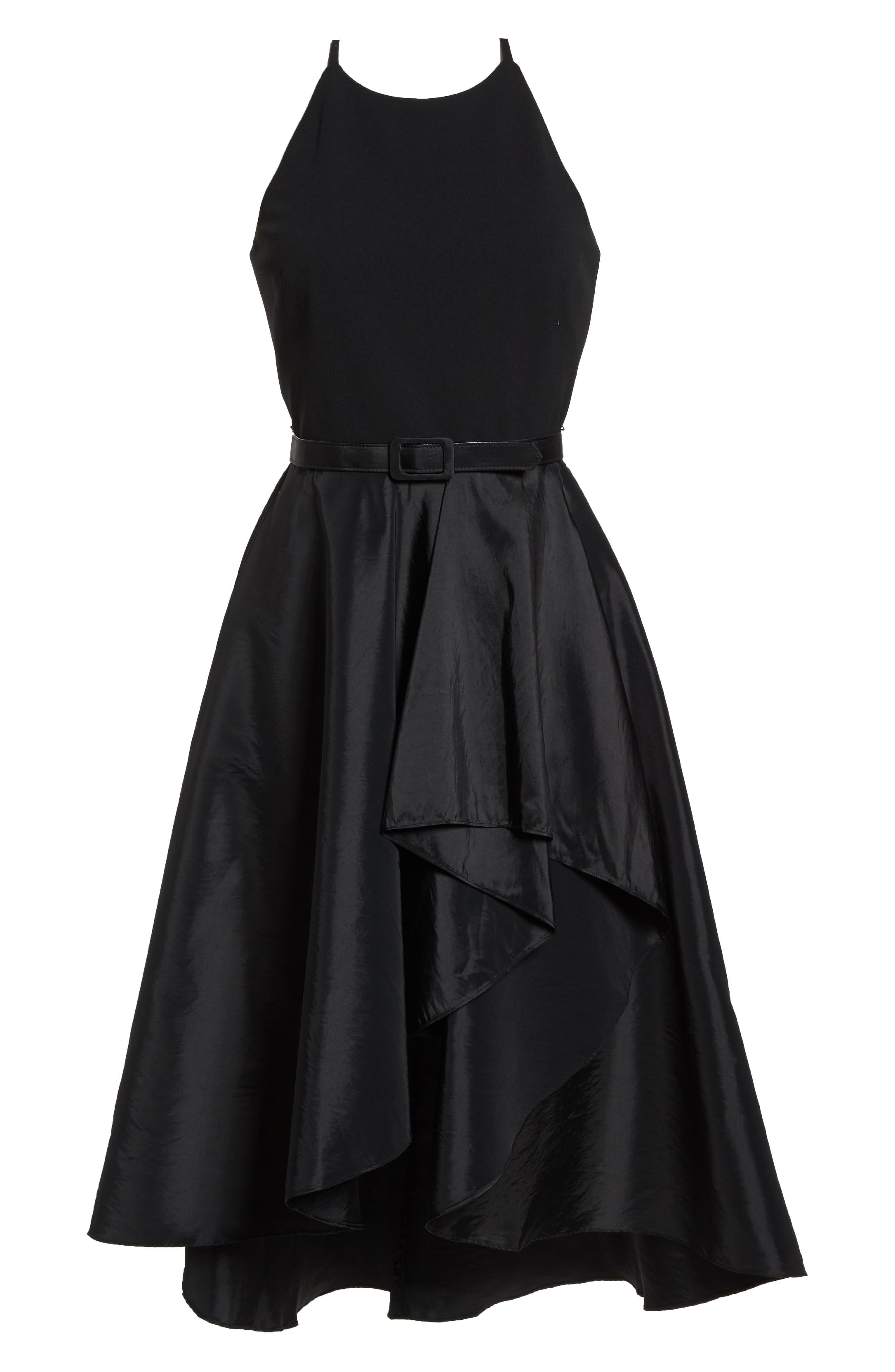 Asymmetrical Tea Length Dress,                             Alternate thumbnail 7, color,                             BLACK