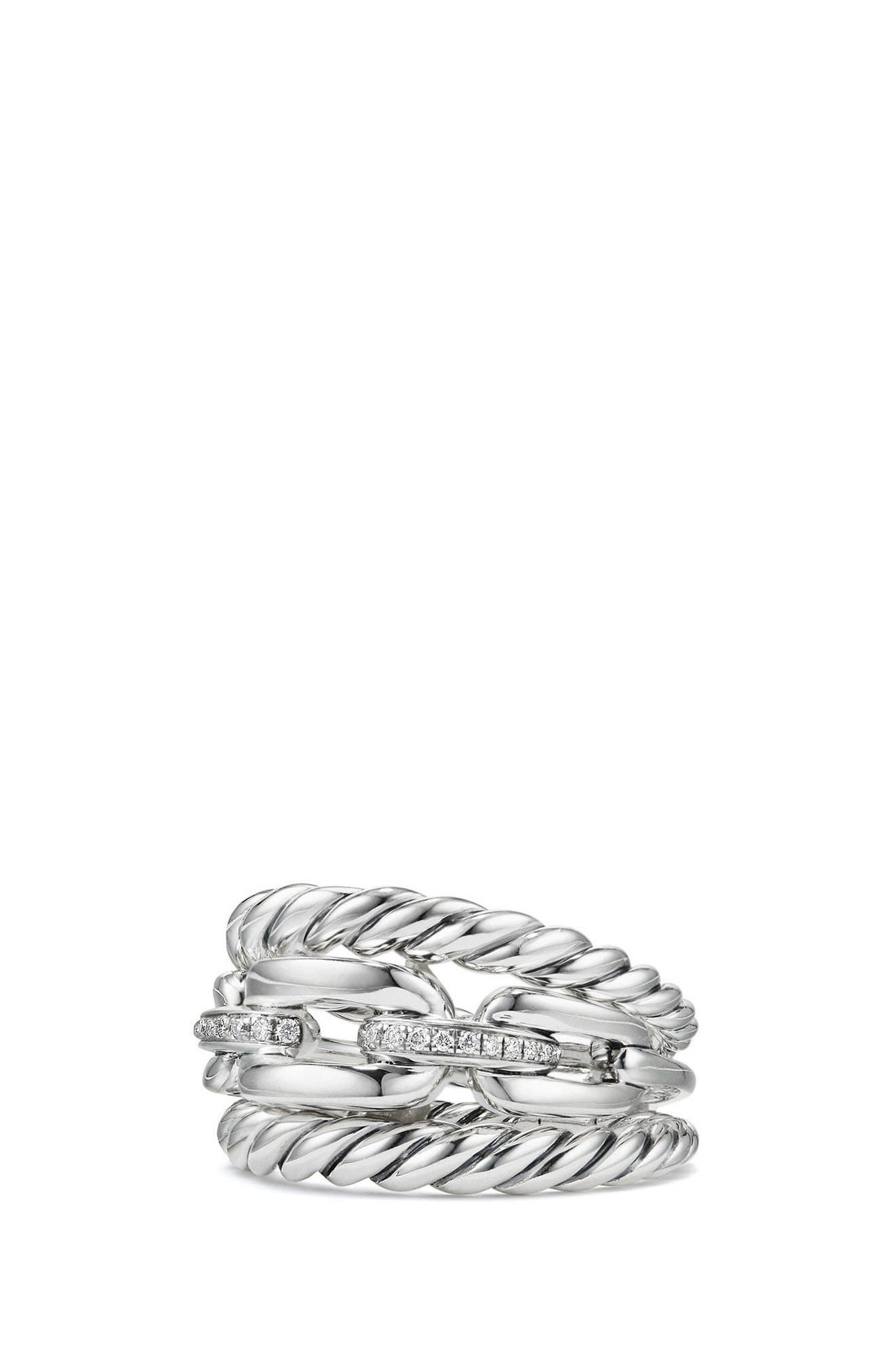 DAVID YURMAN Wellesley Three-Row Ring with Diamonds, Main, color, SILVER