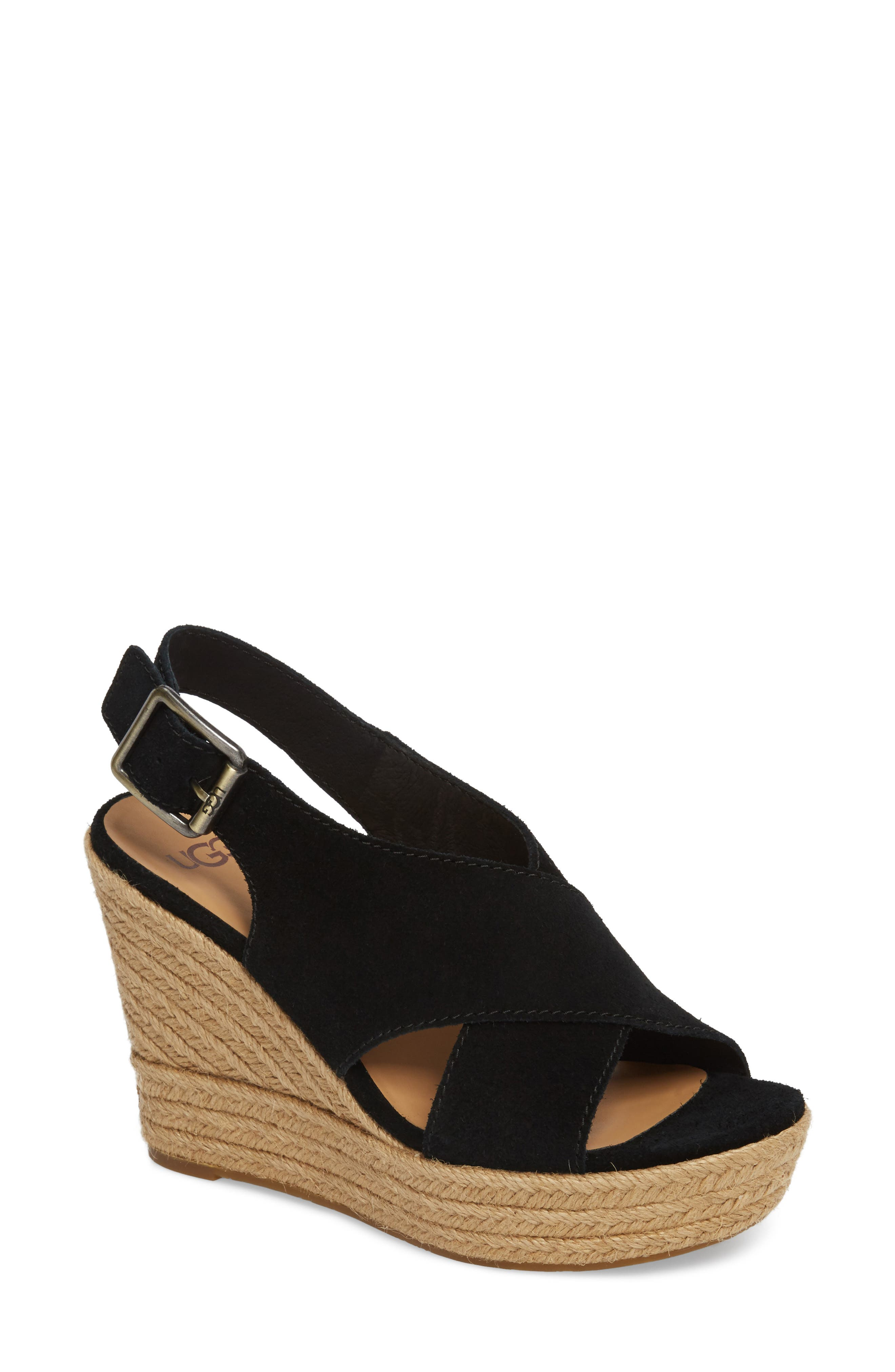 Harlow Platform Wedge Sandal,                             Main thumbnail 1, color,                             001