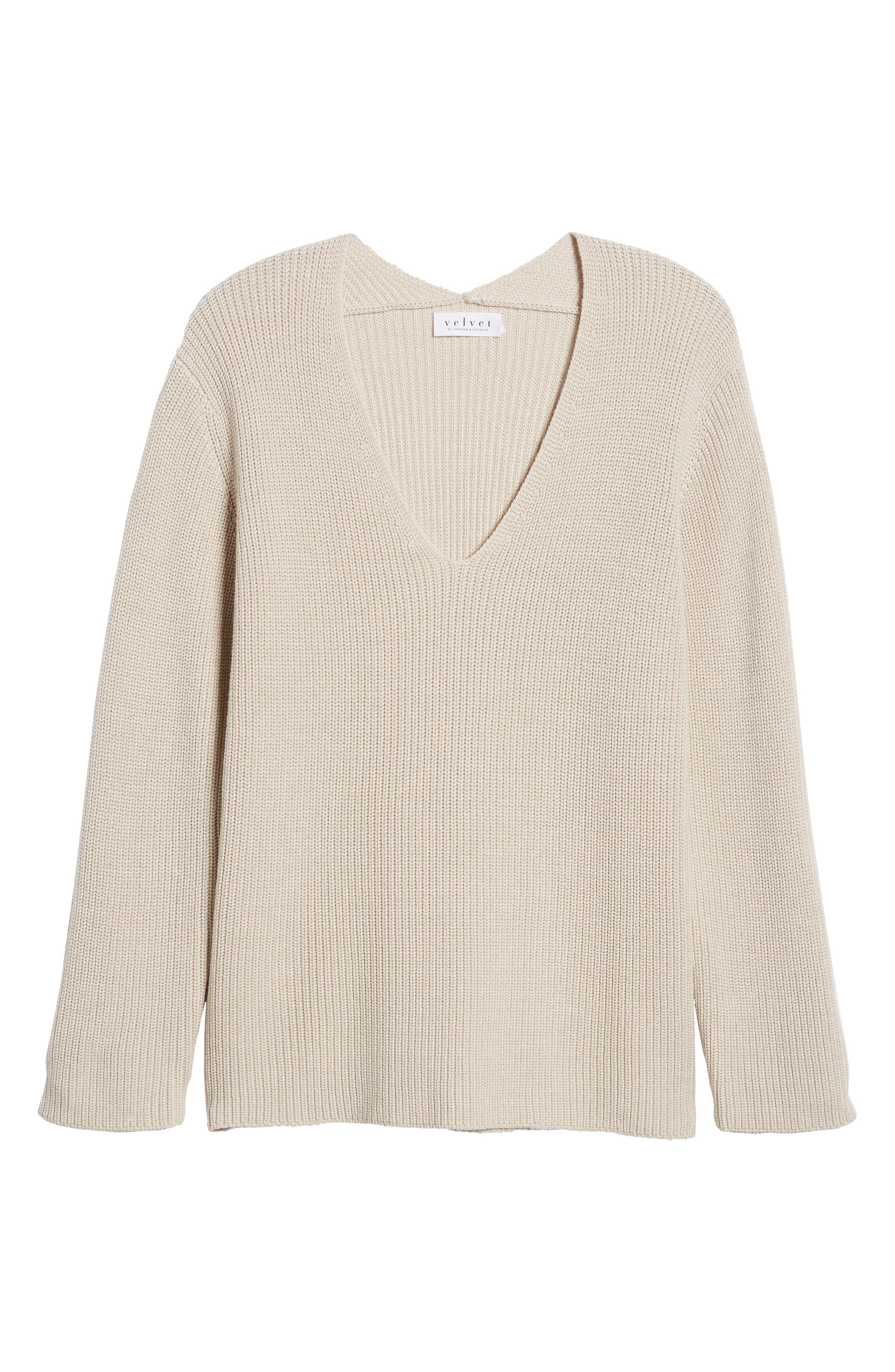 V-Neck Sweater,                             Alternate thumbnail 6, color,                             NUDE