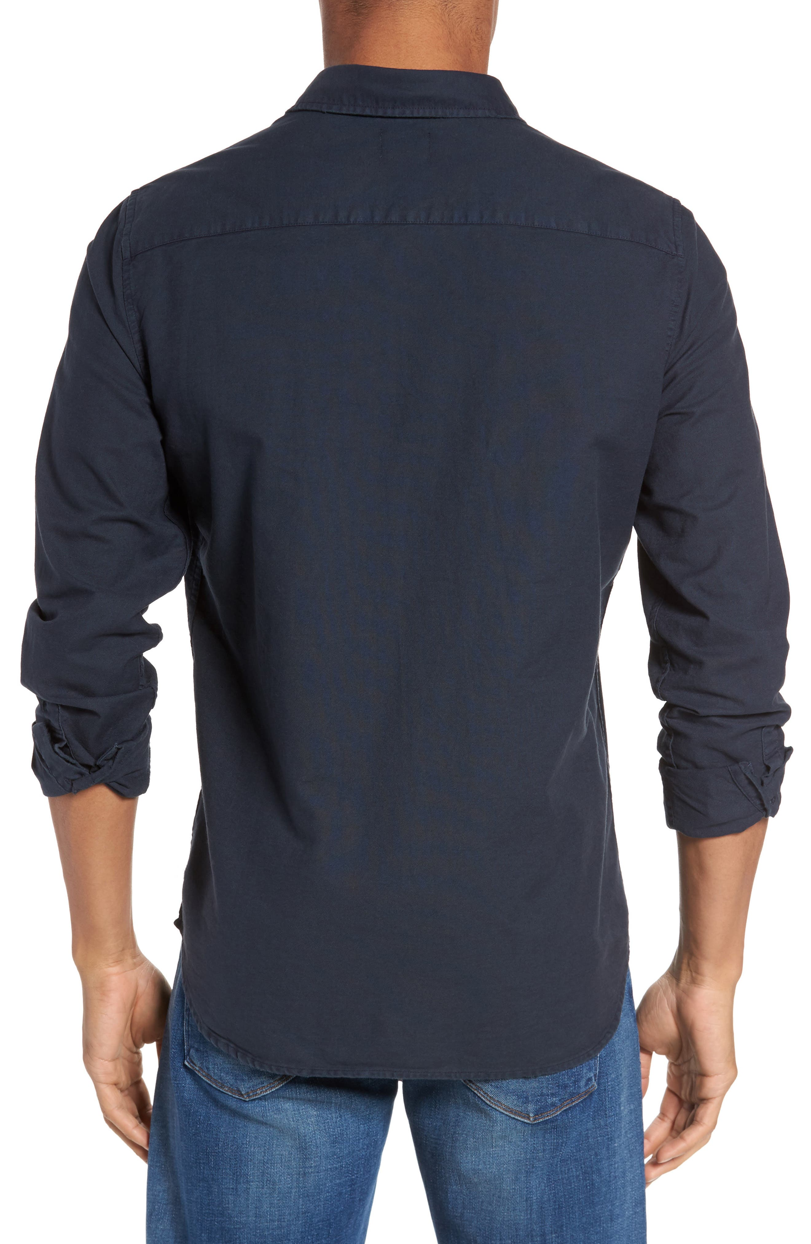 Caleb Slim Fit Twill Sport Shirt,                             Alternate thumbnail 4, color,