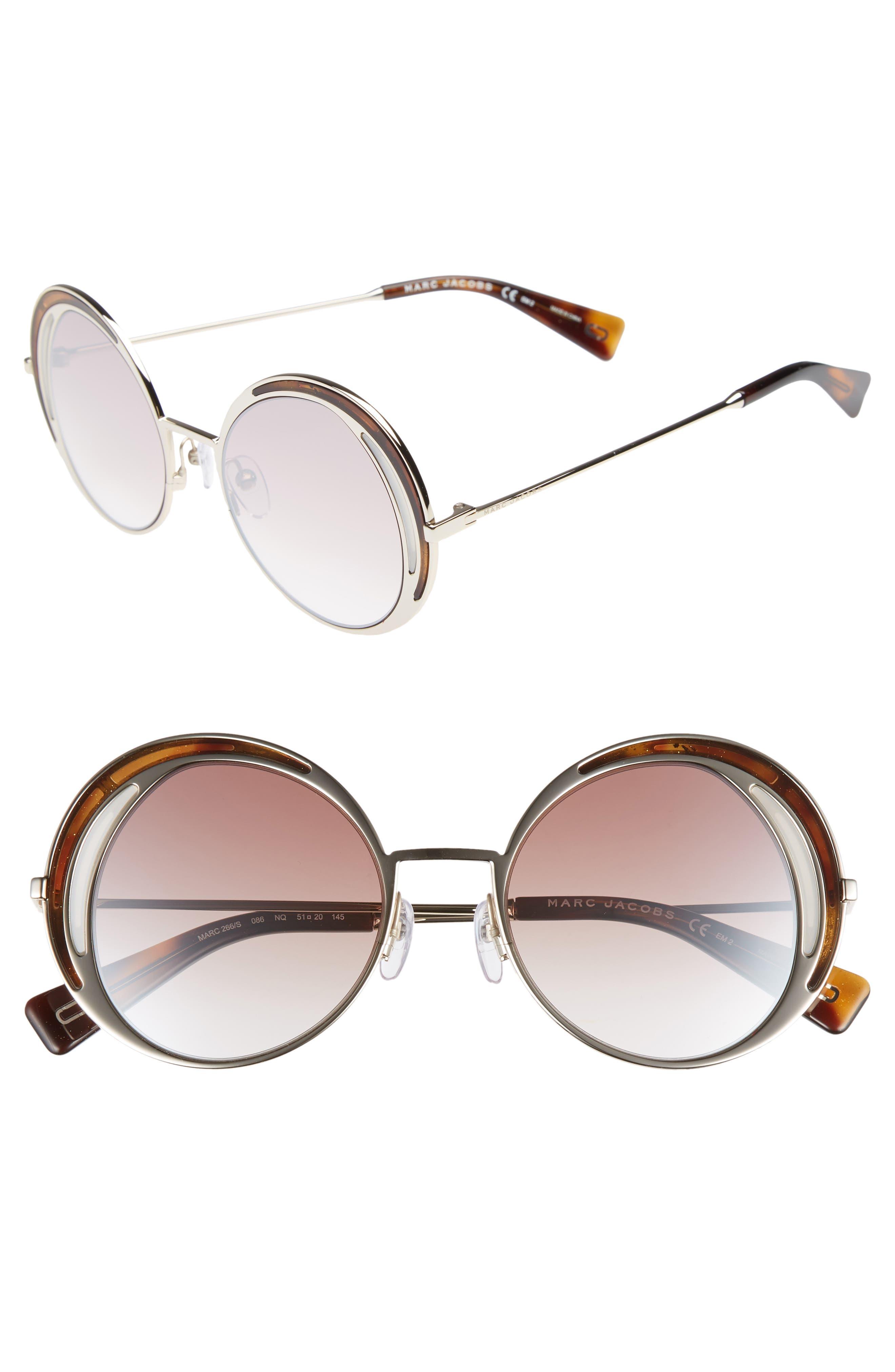 MARC JACOBS 51mm Round Sunglasses, Main, color, DARK HAVANA/ GOLD