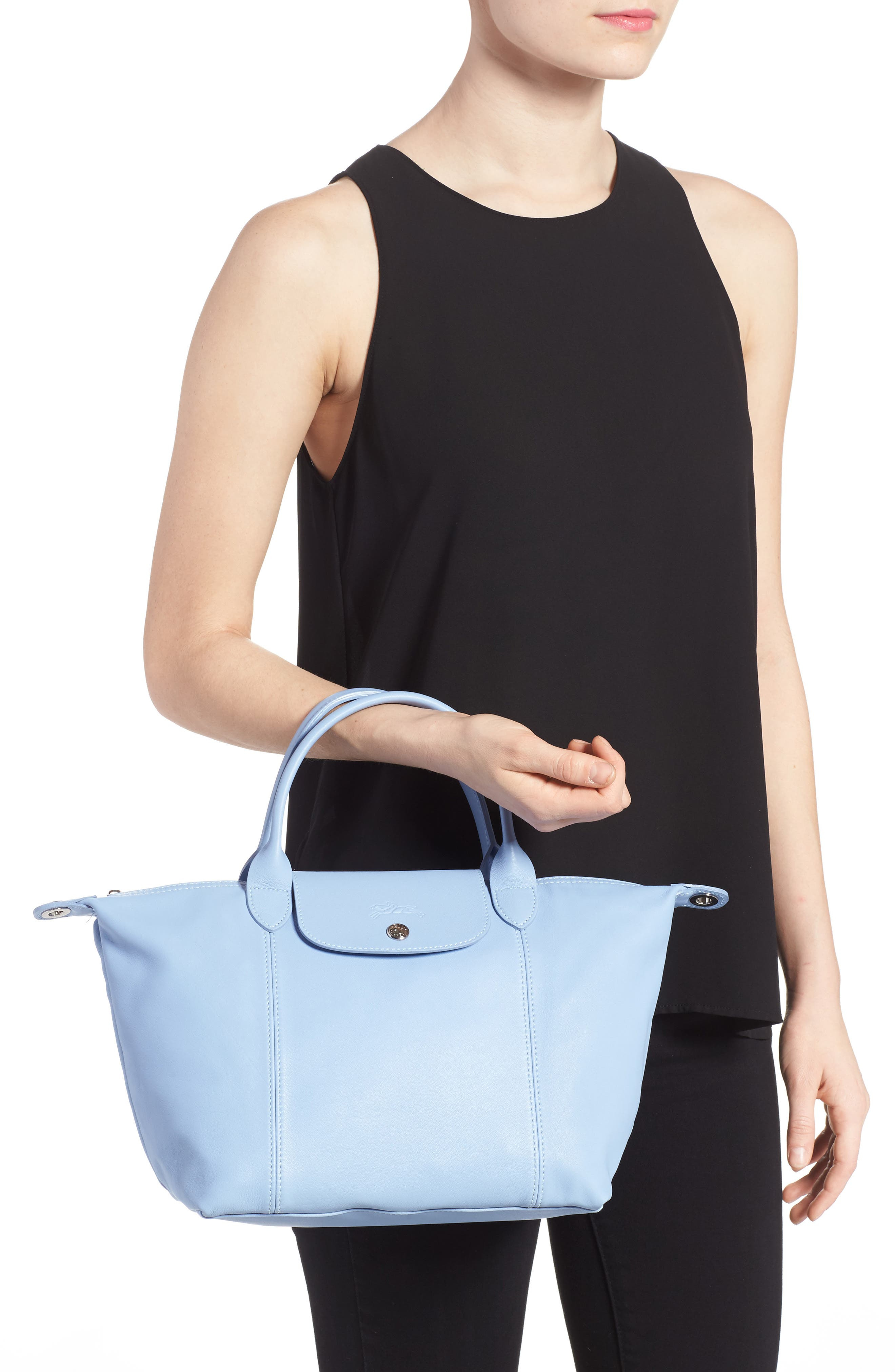 Small 'Le Pliage Cuir' Leather Top Handle Tote,                             Alternate thumbnail 31, color,