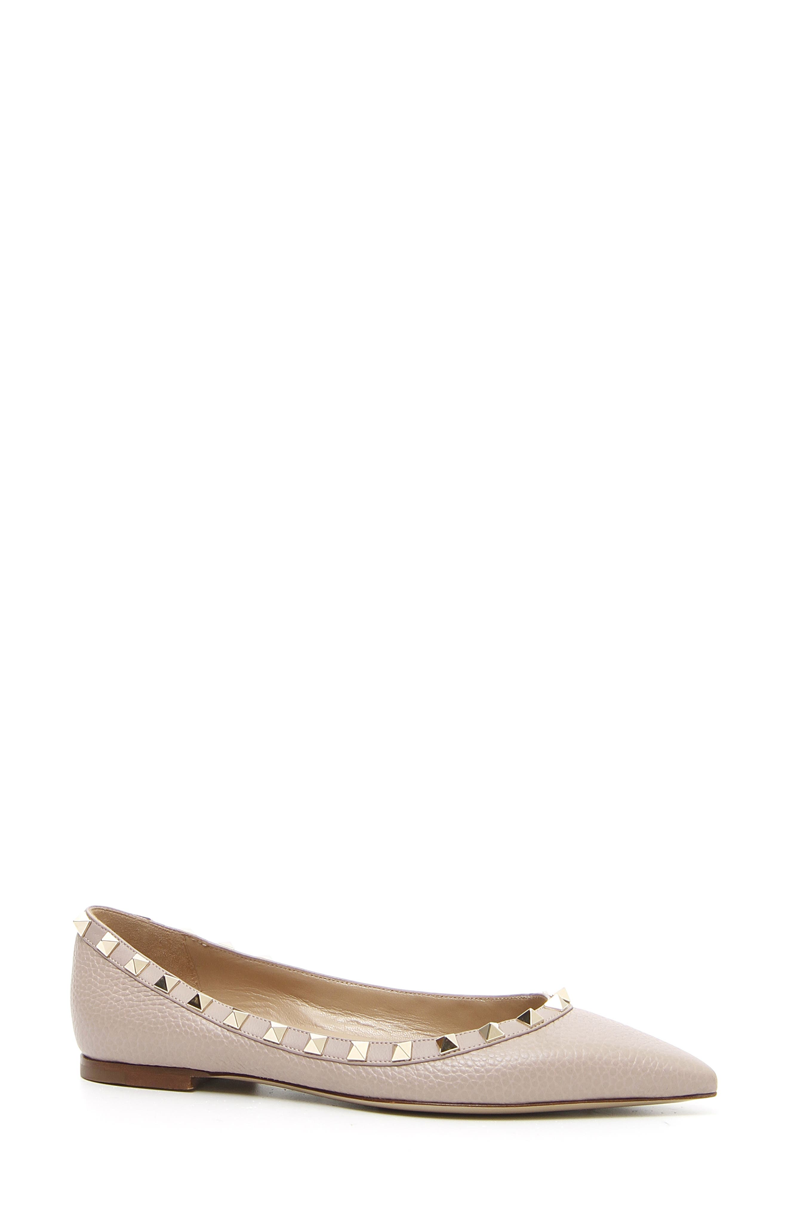 Rockstud Pointy Toe Flat,                             Main thumbnail 1, color,                             POUDRE