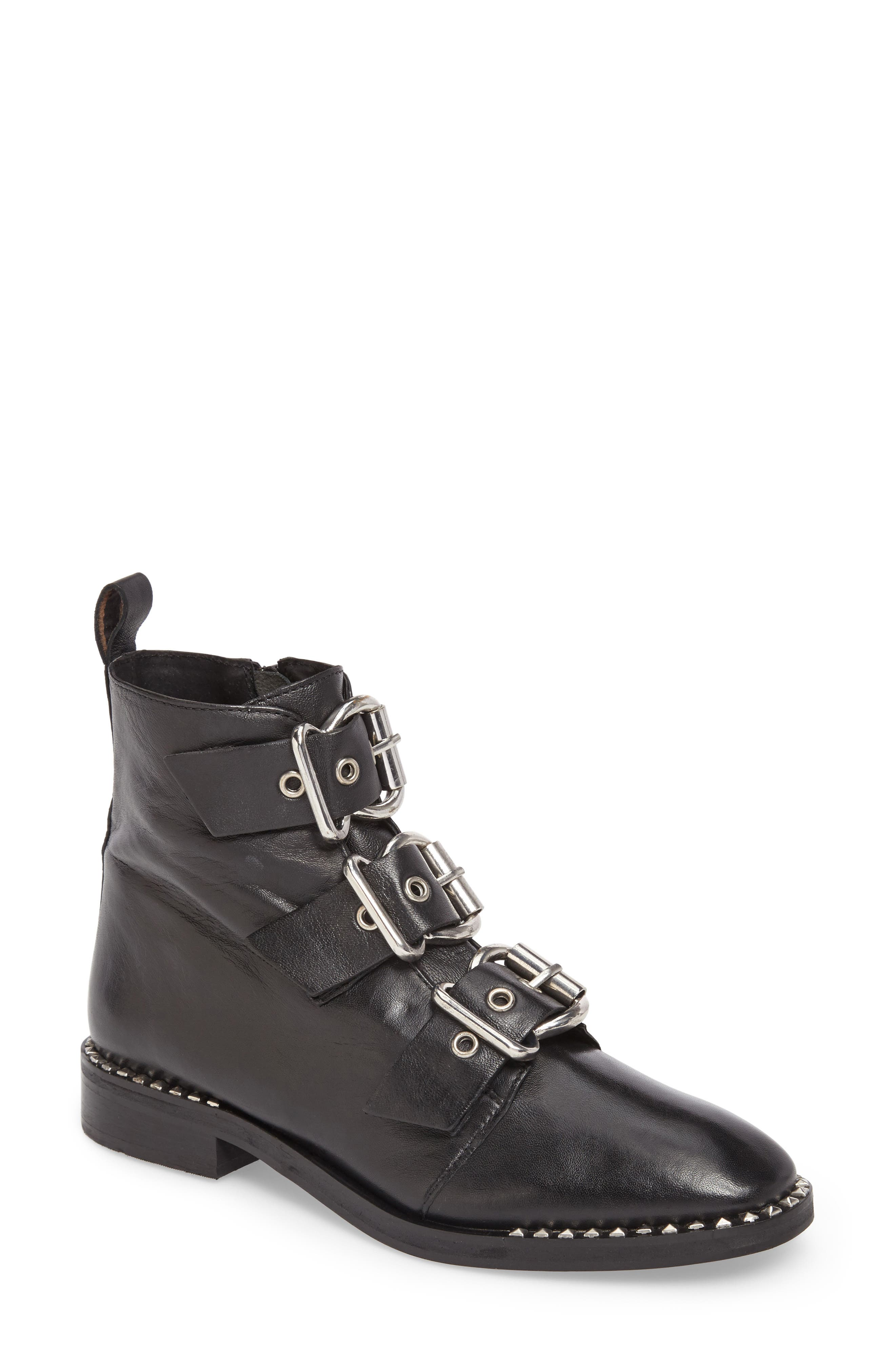 Alfie Buckle Ankle Boot,                             Main thumbnail 1, color,                             001