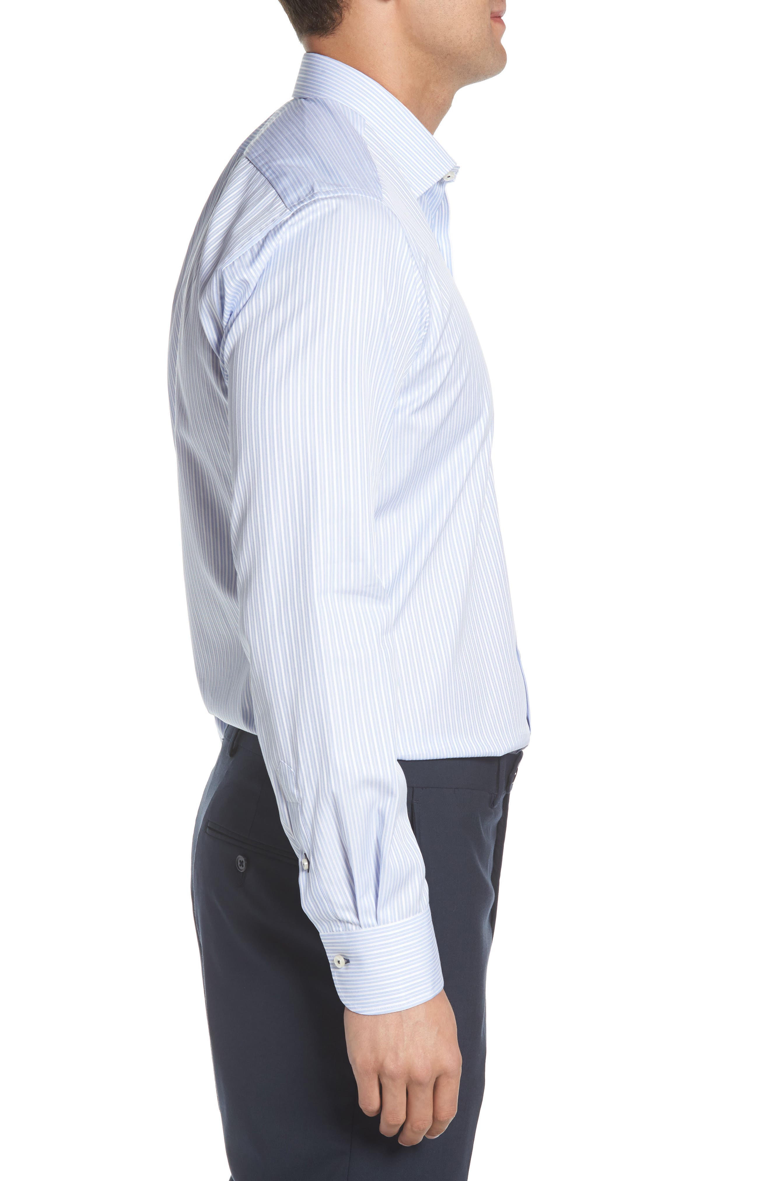 Regular Fit Stripe Dress Shirt,                             Alternate thumbnail 4, color,                             LIGHT BLUE