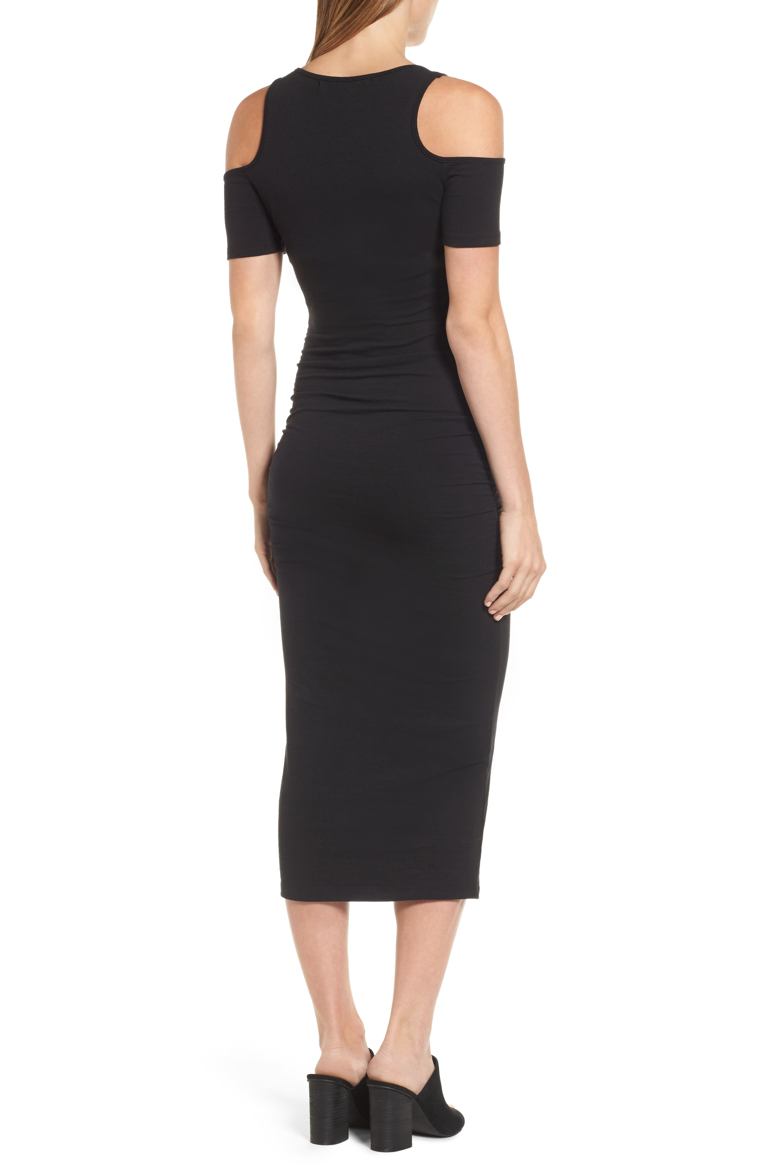 Cold Shoulder Body-Con Dress,                             Alternate thumbnail 2, color,                             BLACK