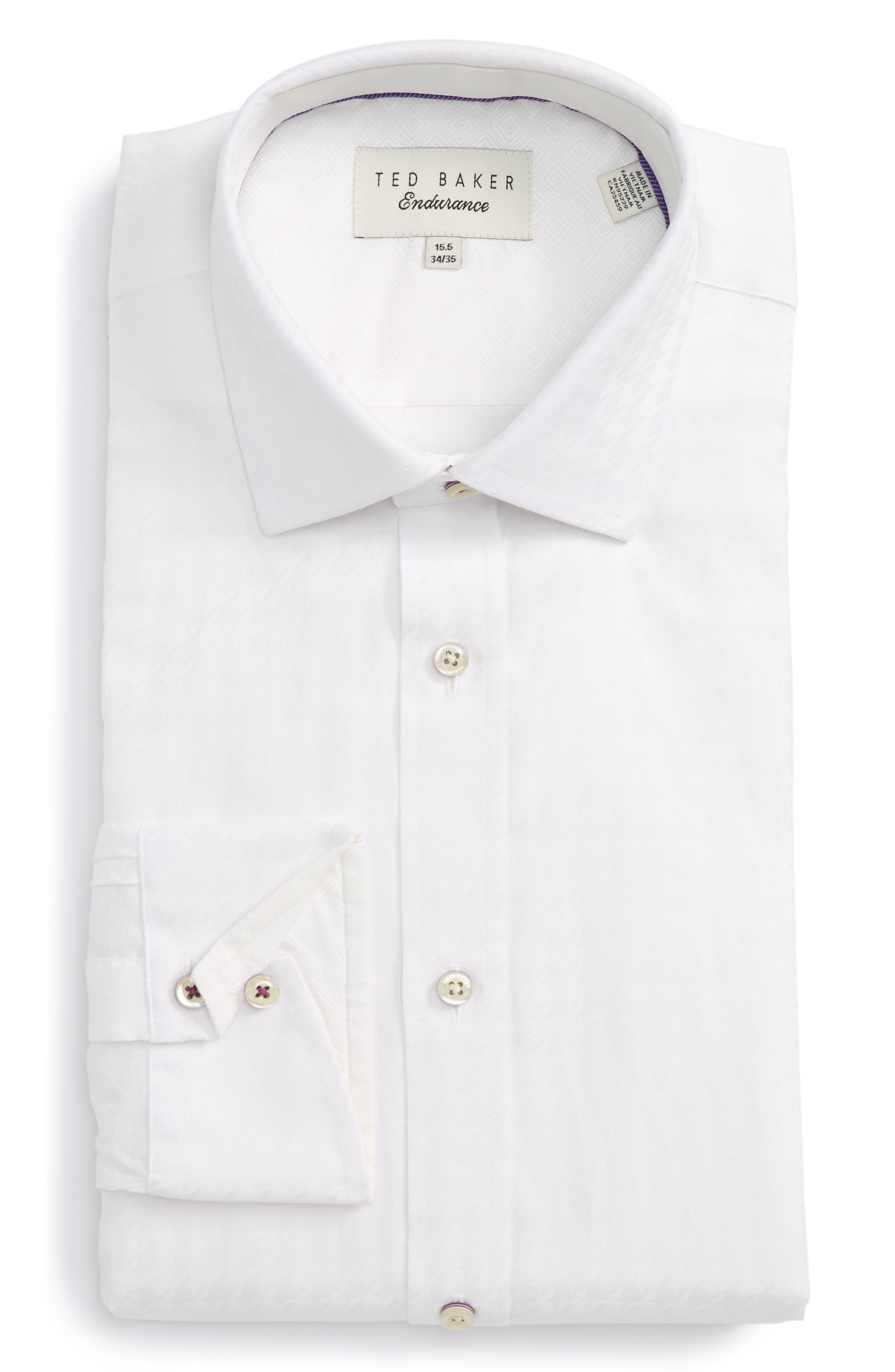 Trim Fit Houndstooth Dress Shirt,                         Main,                         color, 110