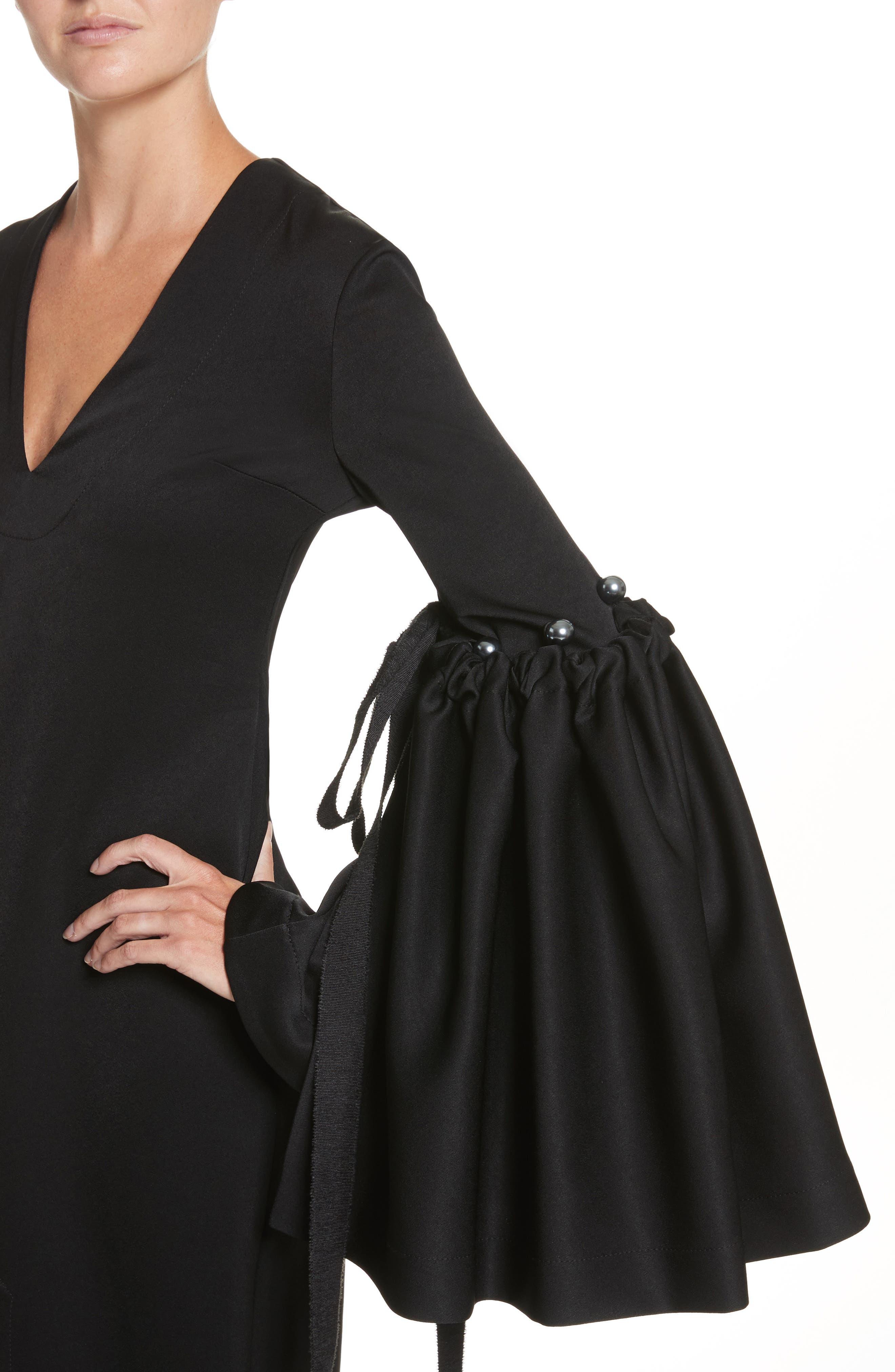 Adage Detachable Bell Sleeve Dress,                             Alternate thumbnail 4, color,                             001