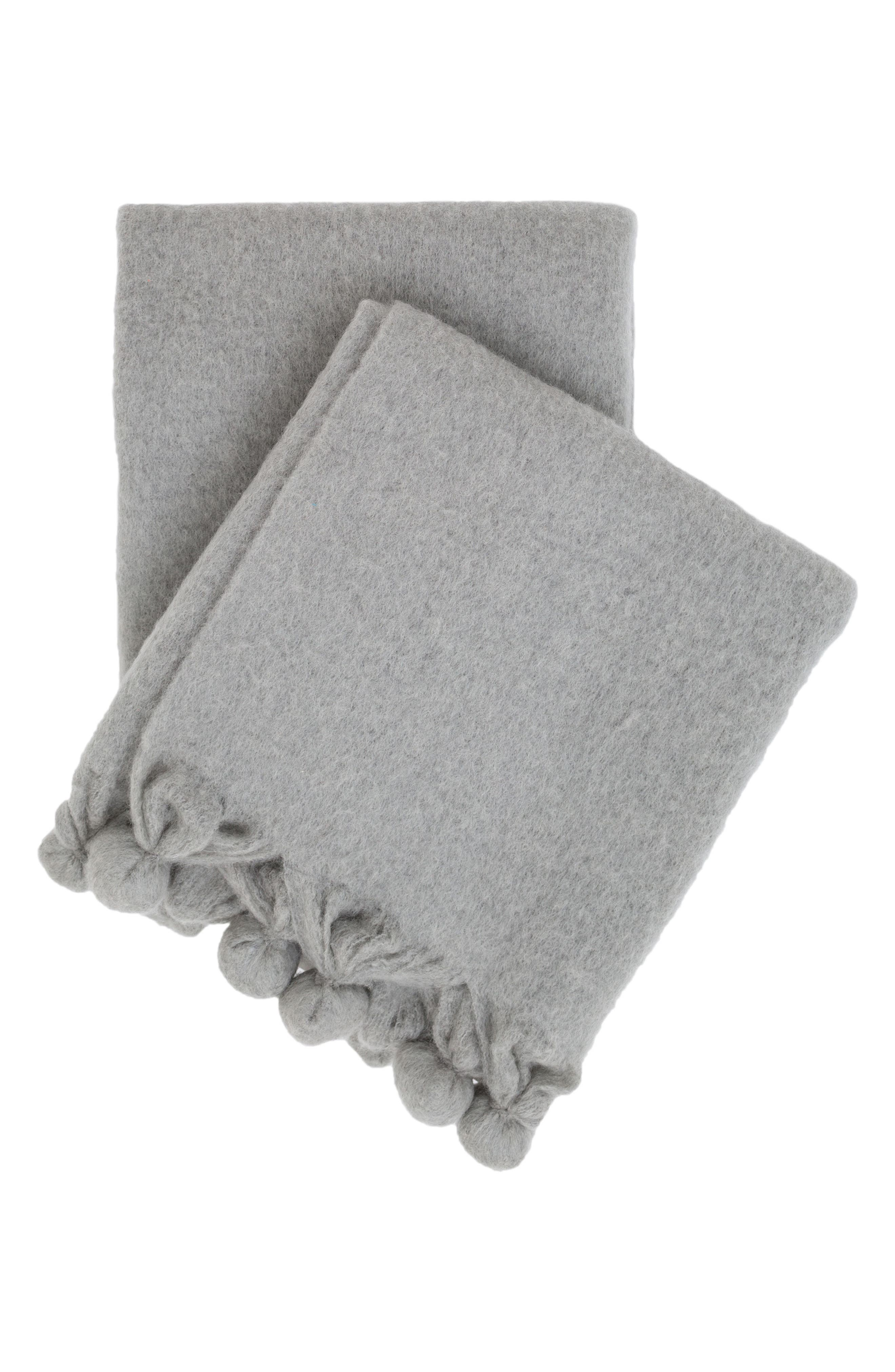 Pompom Throw,                             Main thumbnail 1, color,                             GREY