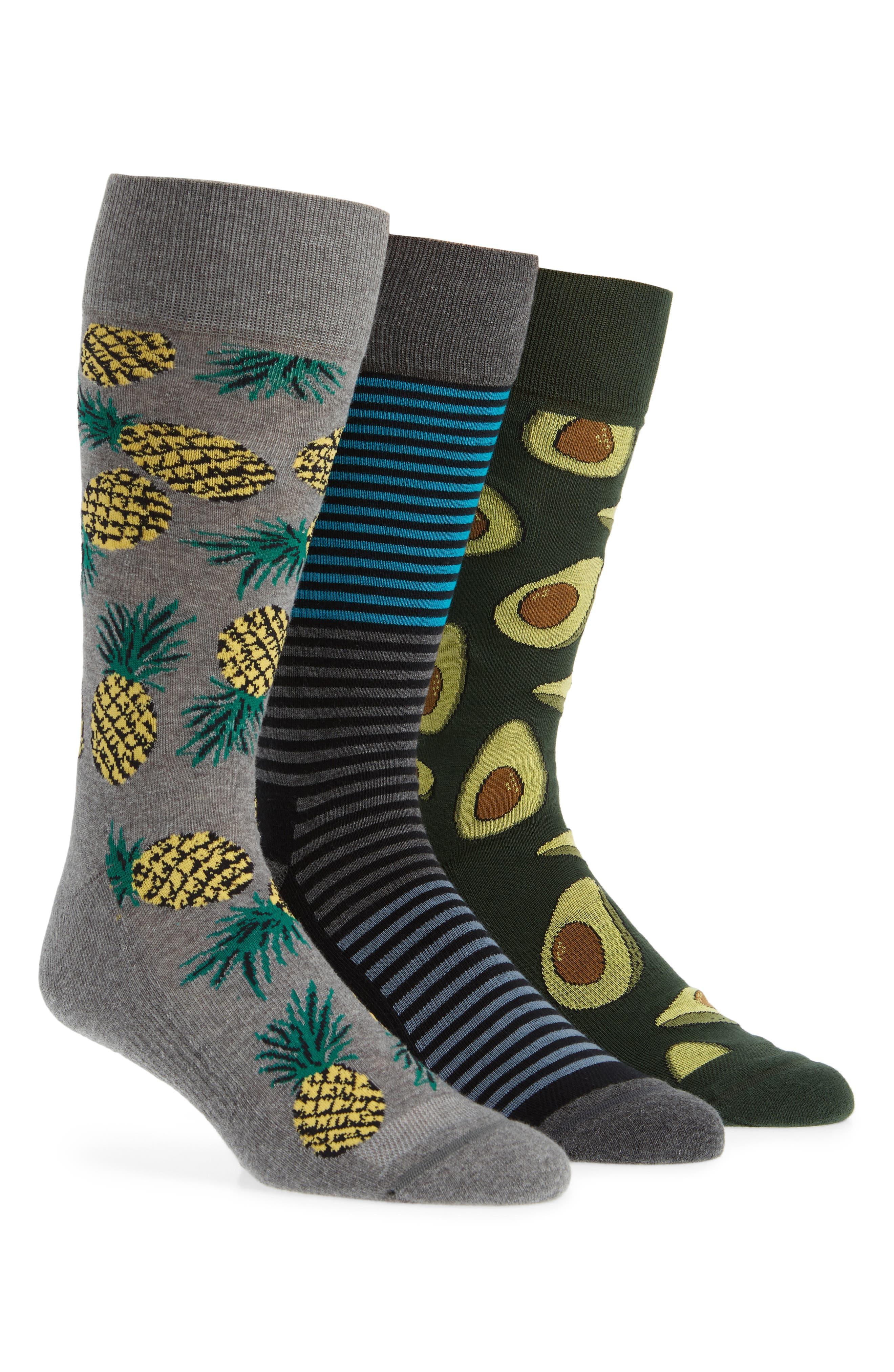 3-Pack Novelty Socks Box Set,                             Main thumbnail 1, color,                             AVOCADO/ PINEAPPLE/ STRIPE