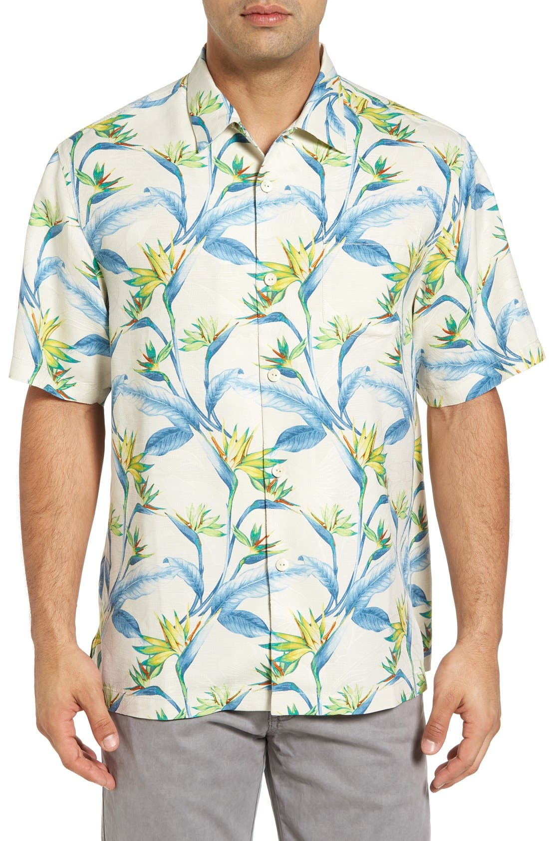 Porto de Paradise Silk Sport Shirt,                             Main thumbnail 1, color,