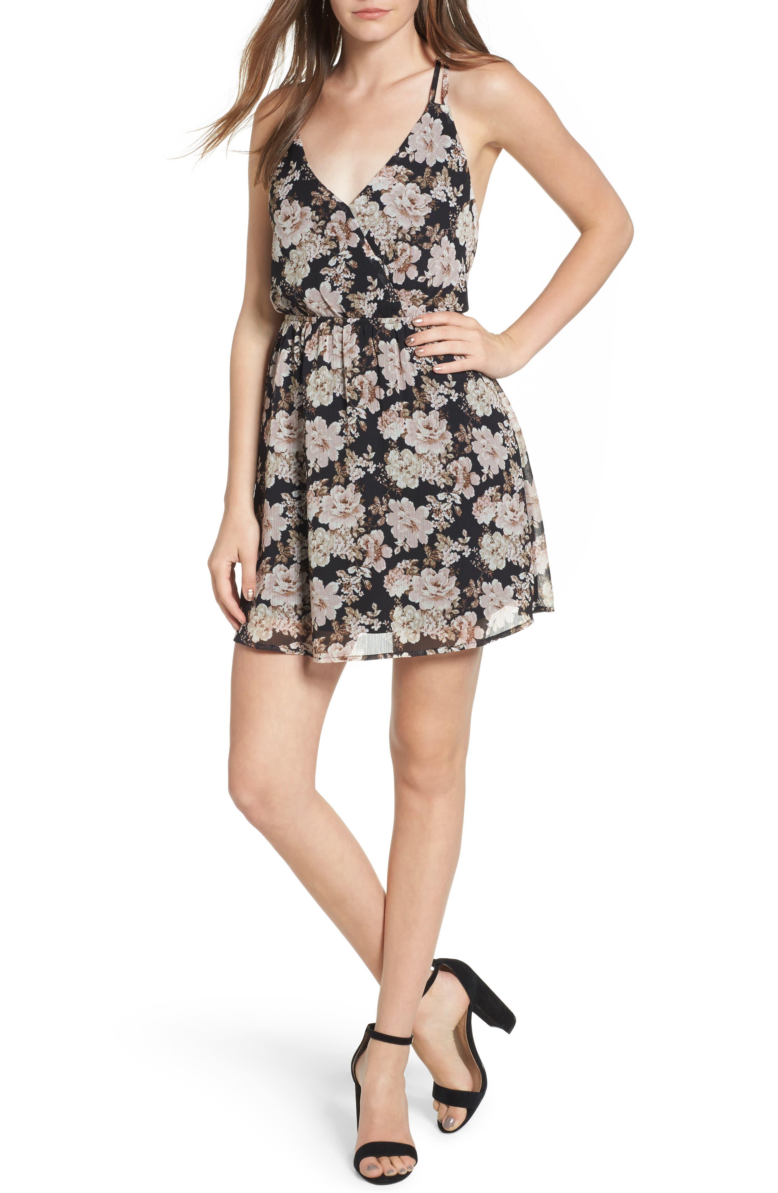 Floral Print Cross Back Dress,                         Main,                         color, 001