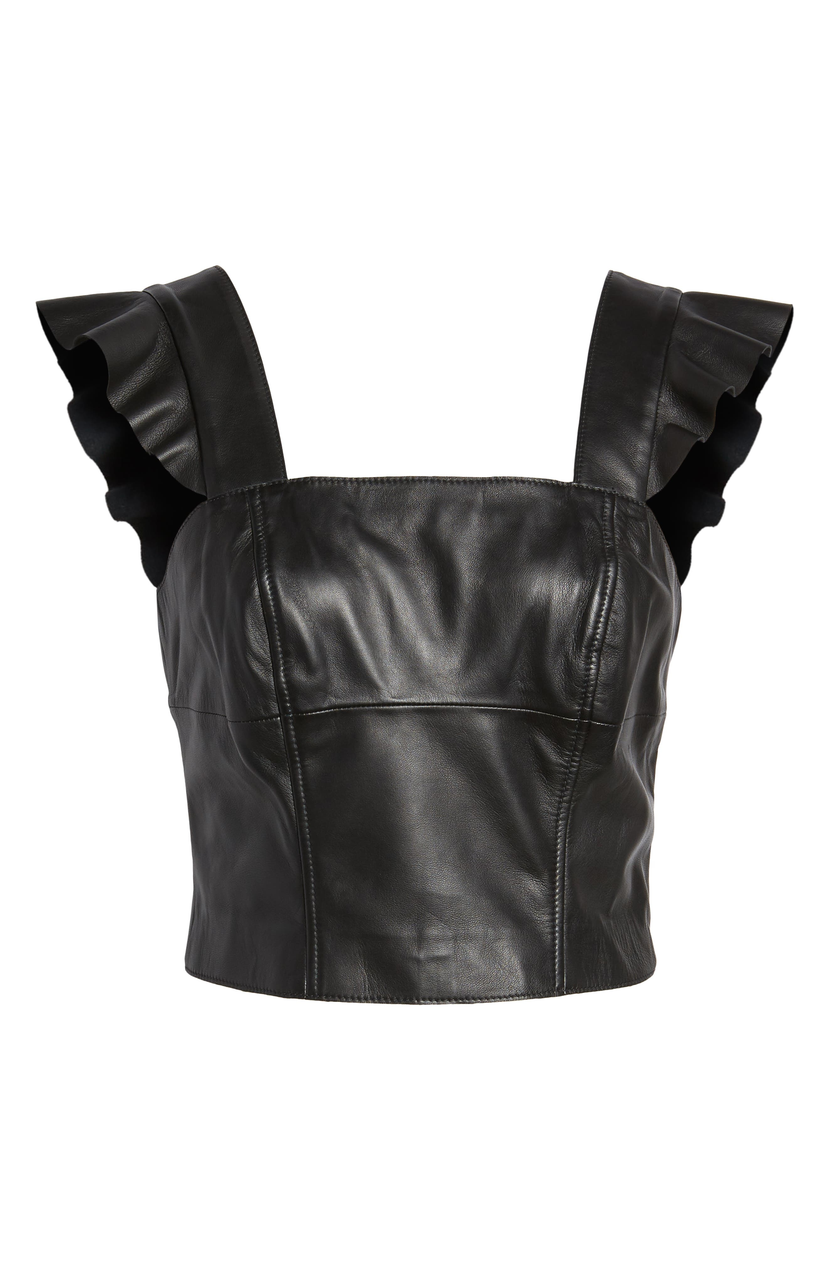 Flutter Sleeve Leather Bustier,                             Alternate thumbnail 7, color,                             BLACK