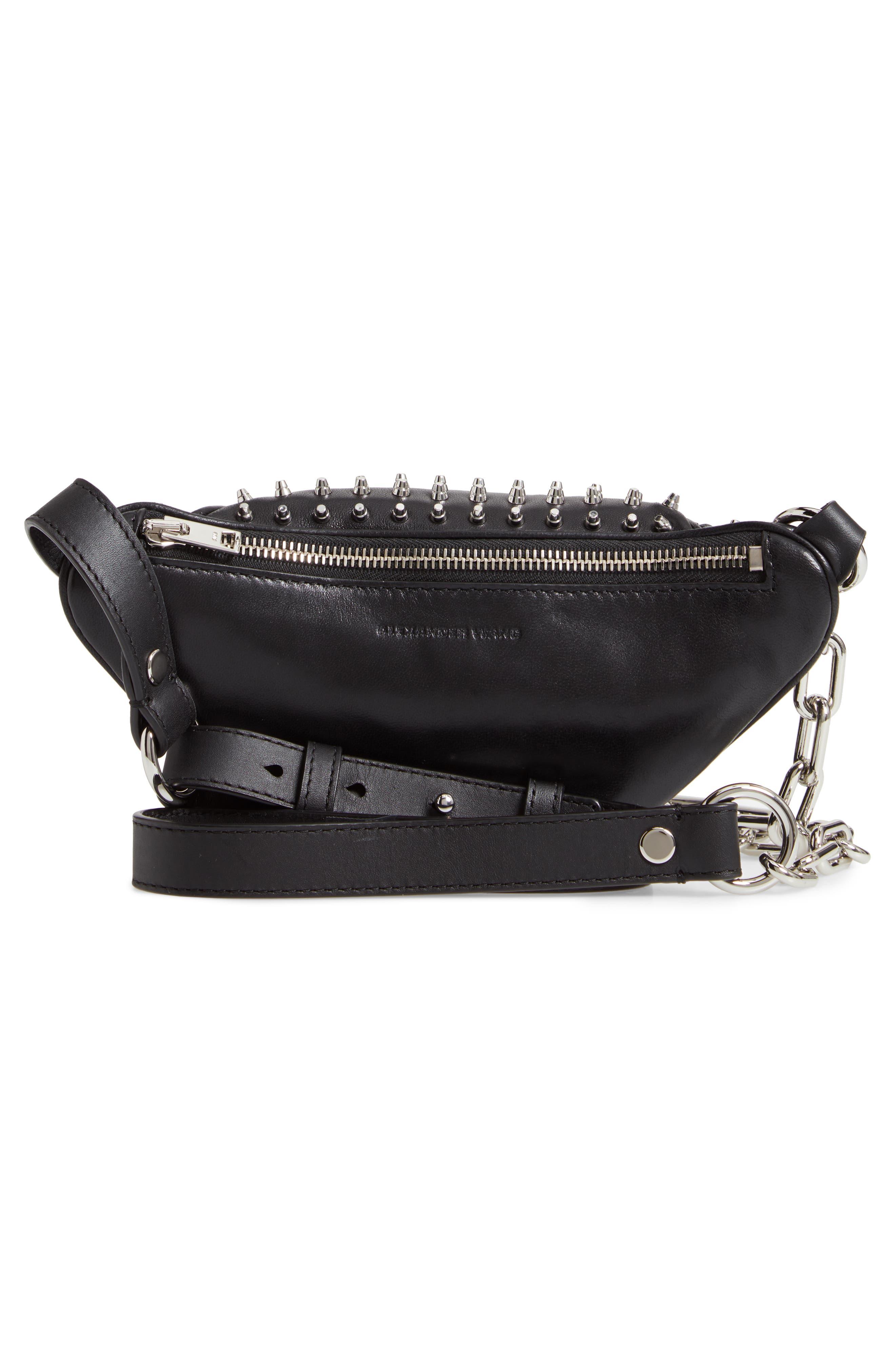Attica Studded Lambskin Leather Fanny Pack,                             Alternate thumbnail 3, color,                             BLACK