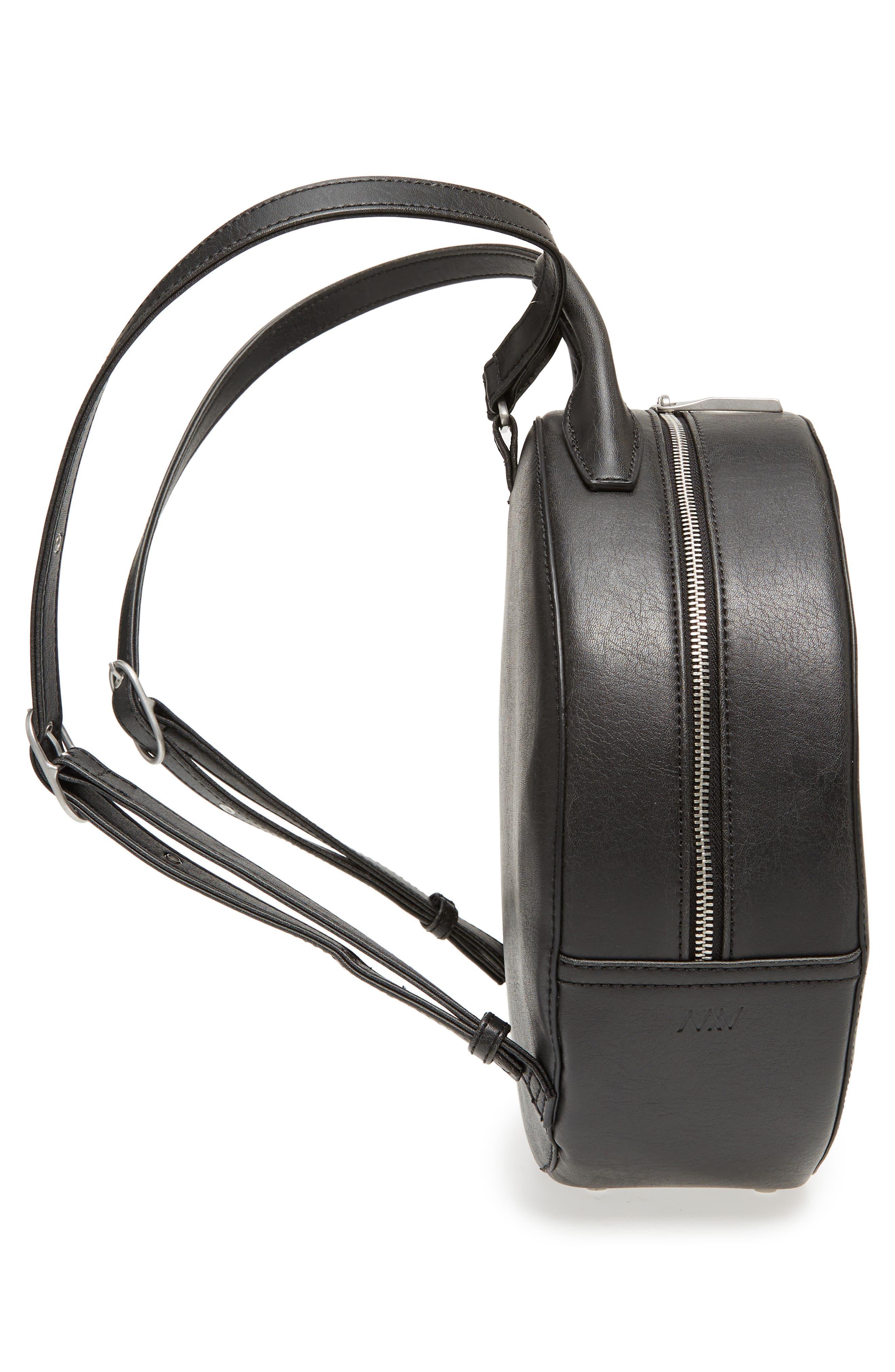 MATT & NAT,                             Kiara Faux Leather Circle Backpack,                             Alternate thumbnail 5, color,                             BLACK