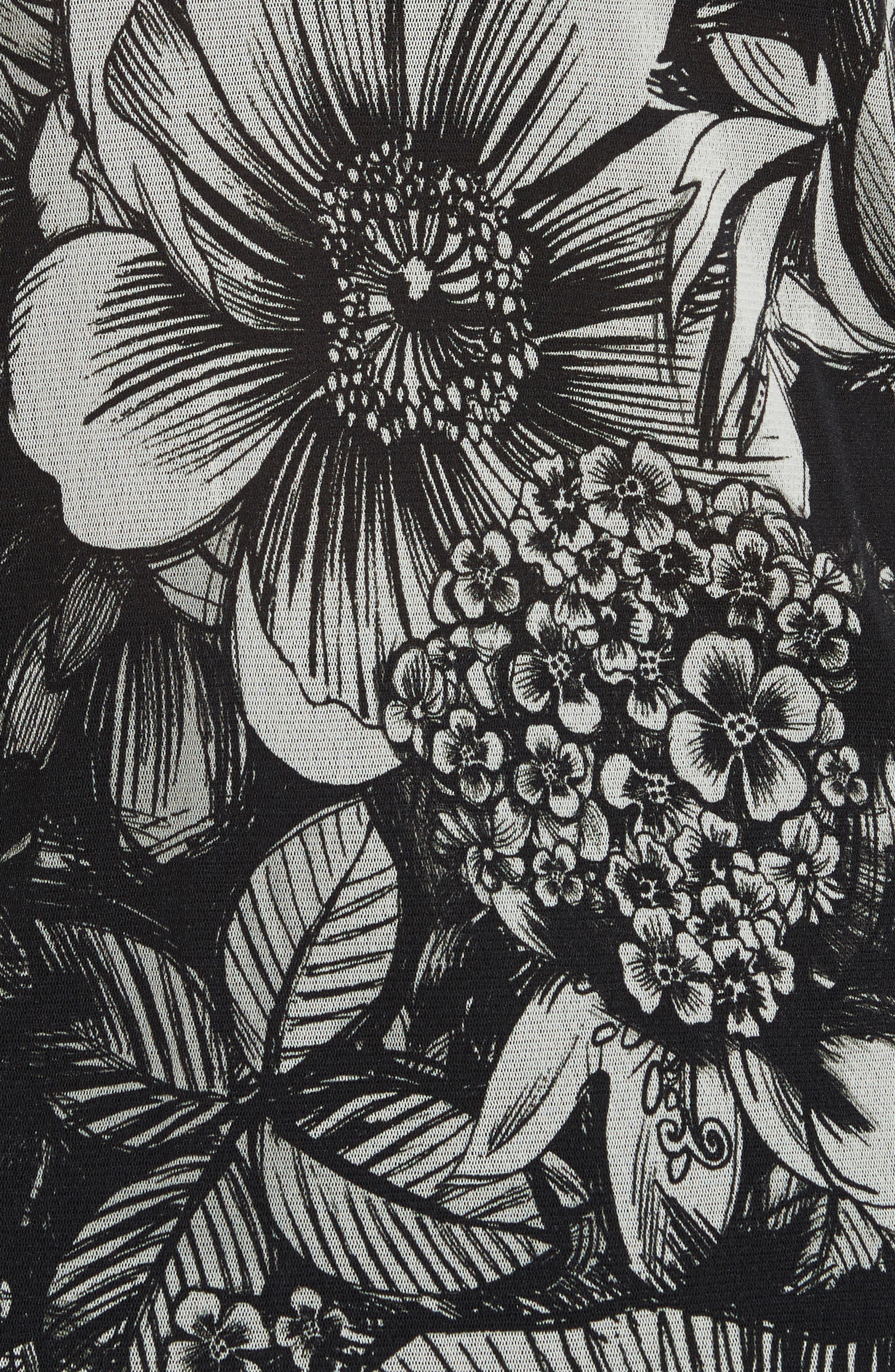 Floral Print Tulle Blouson Top,                             Alternate thumbnail 5, color,                             001