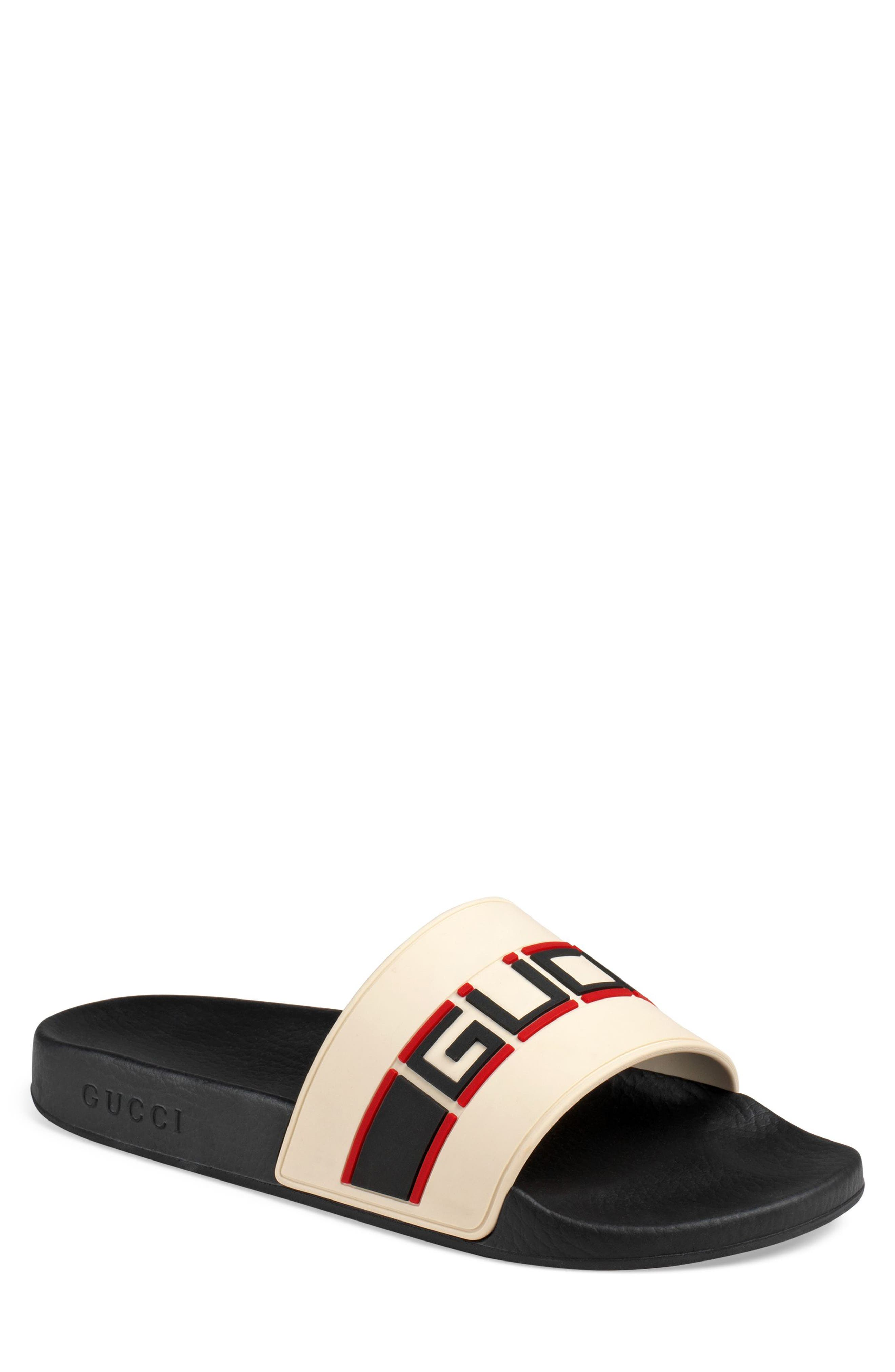 Pursuit Stripe Slide Sandal,                         Main,                         color, WHITE/ POPPY/ NERO