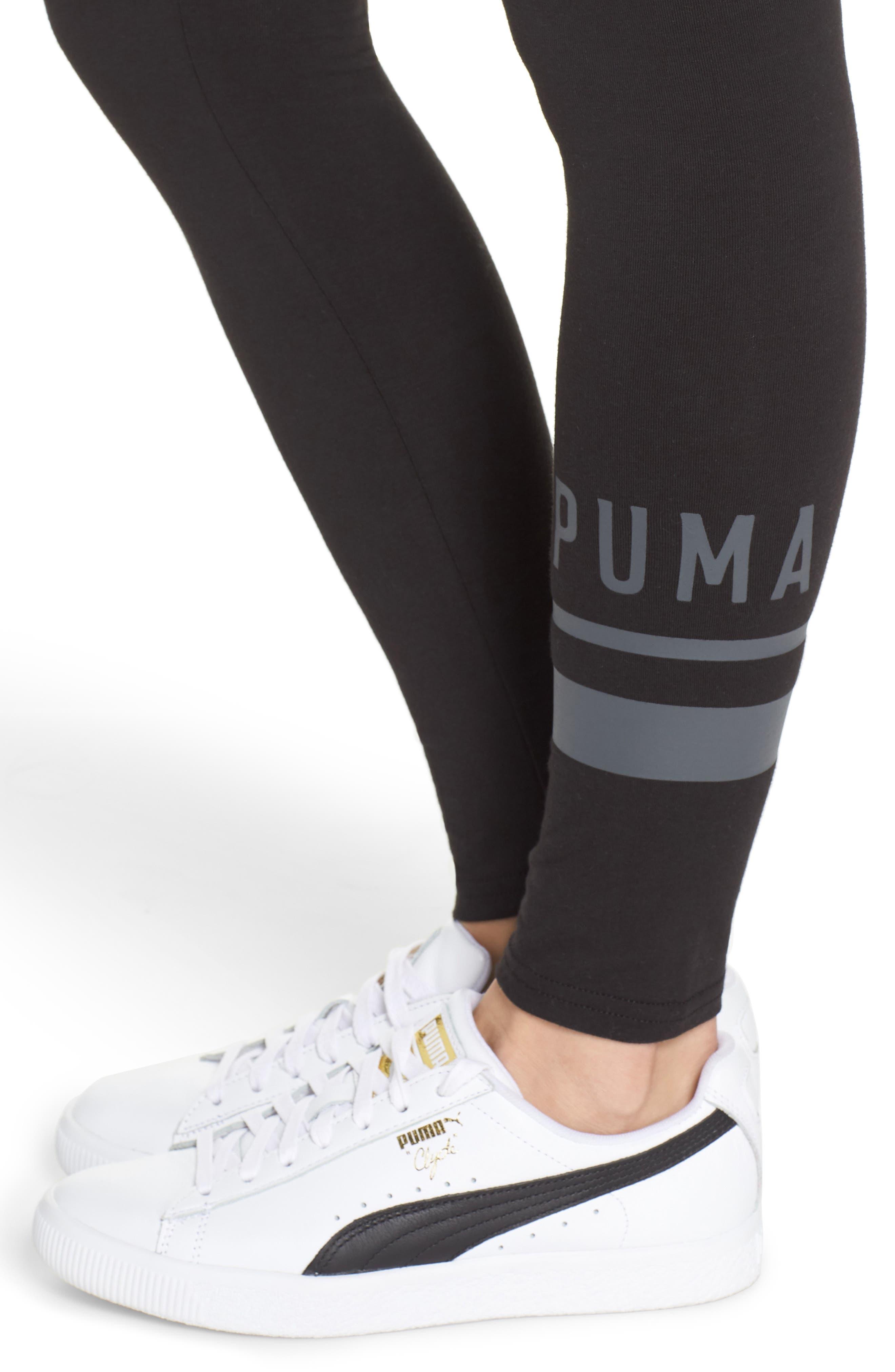 PUMA,                             Athletic Logo Leggings,                             Alternate thumbnail 4, color,                             001