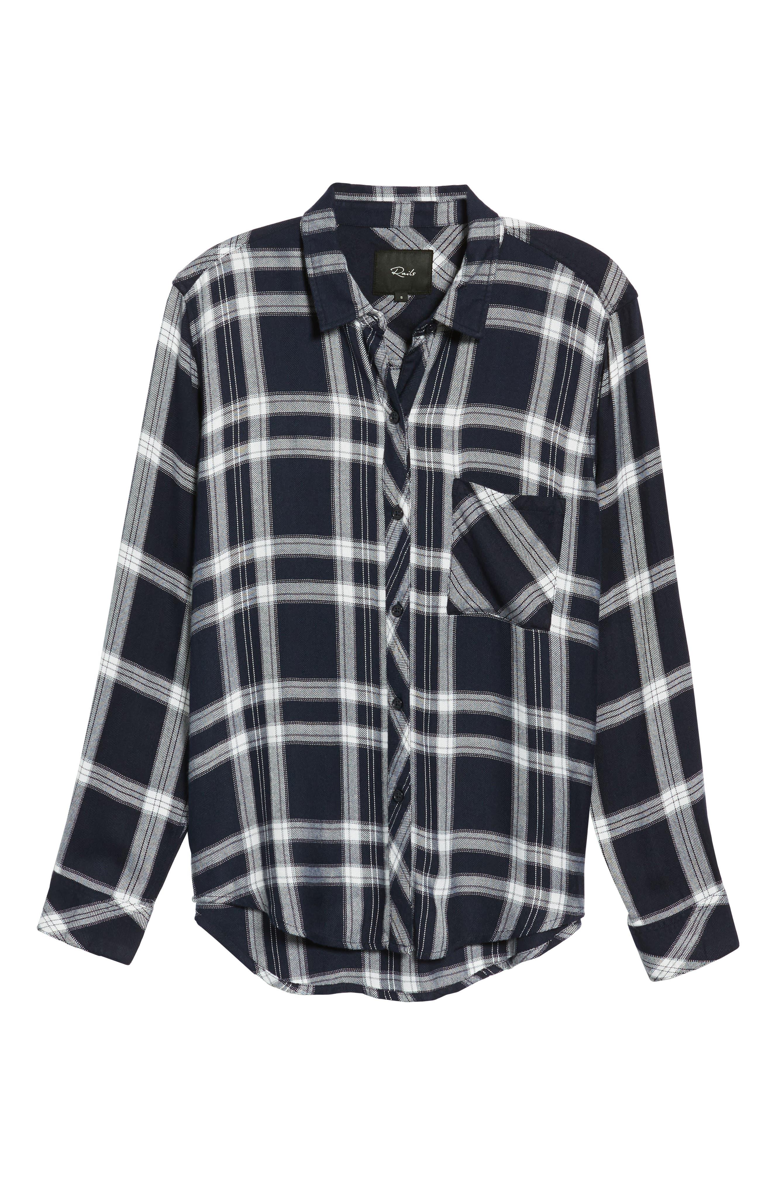 Liza Plaid Shirt,                             Alternate thumbnail 6, color,                             NAVY MIDNIGHT POWDER