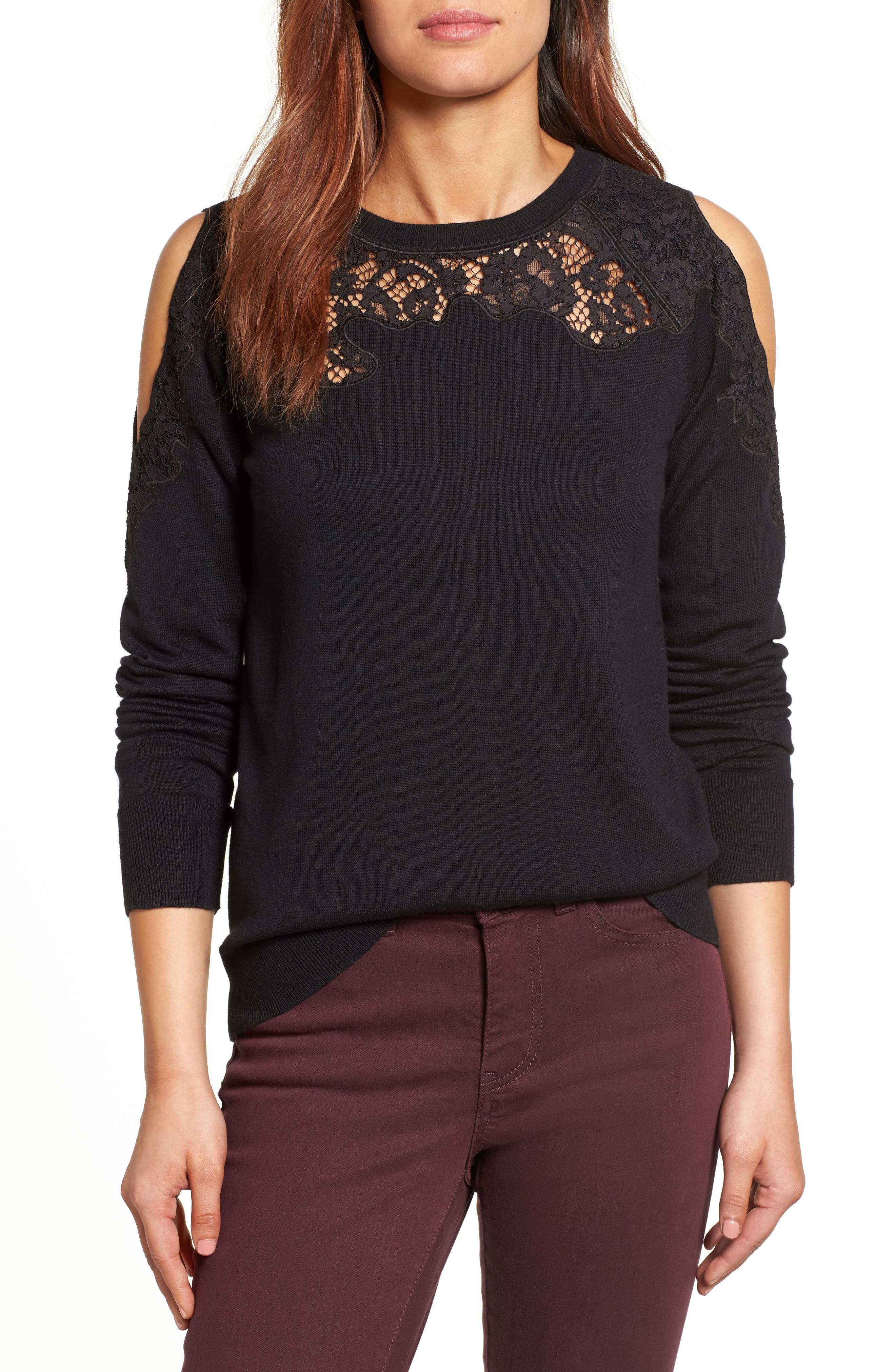 Lace Detail Cold Shoulder Sweater,                             Main thumbnail 1, color,                             001