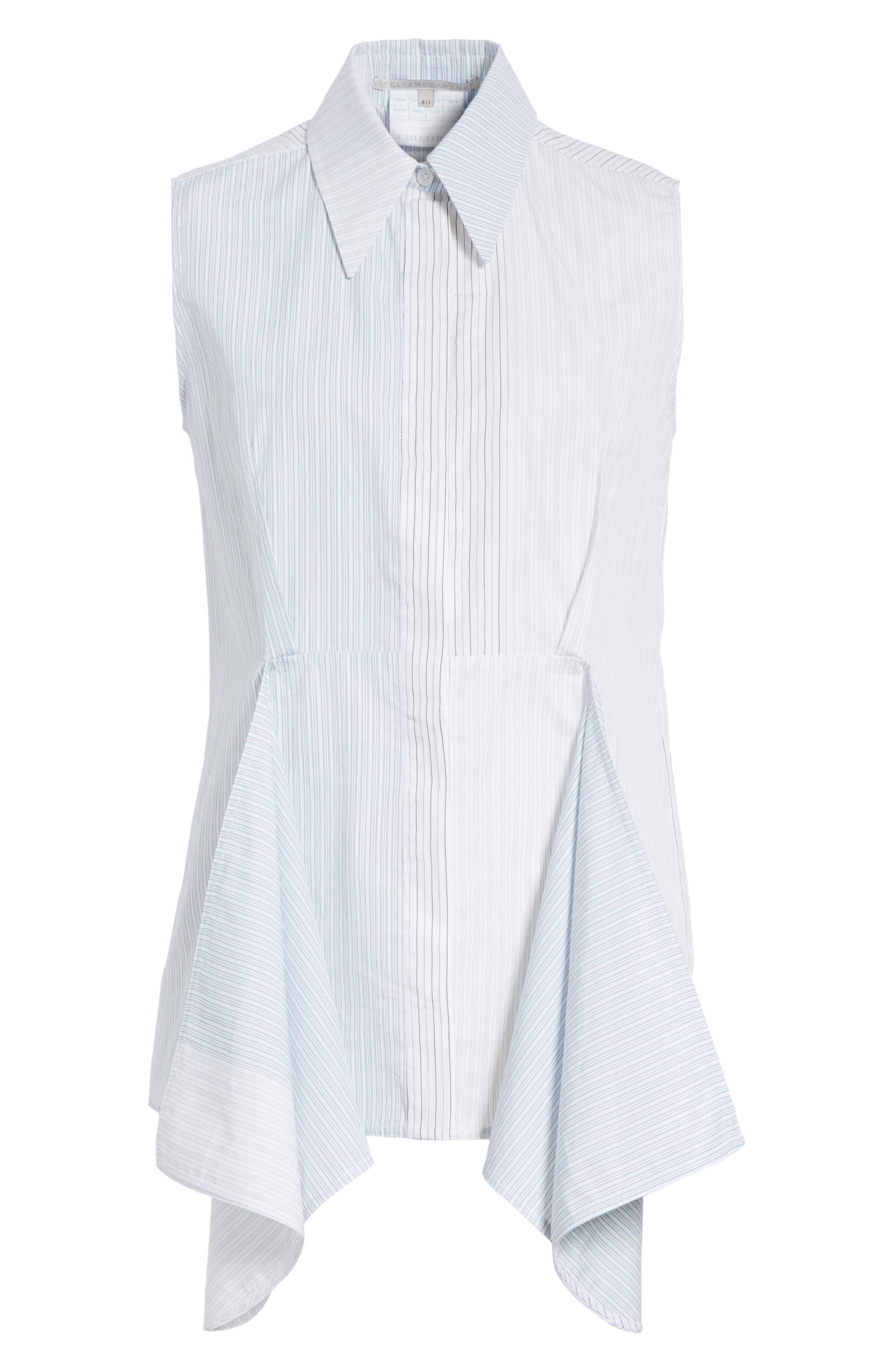 Ruffle Peplum Cotton & Silk Top,                             Alternate thumbnail 6, color,                             108