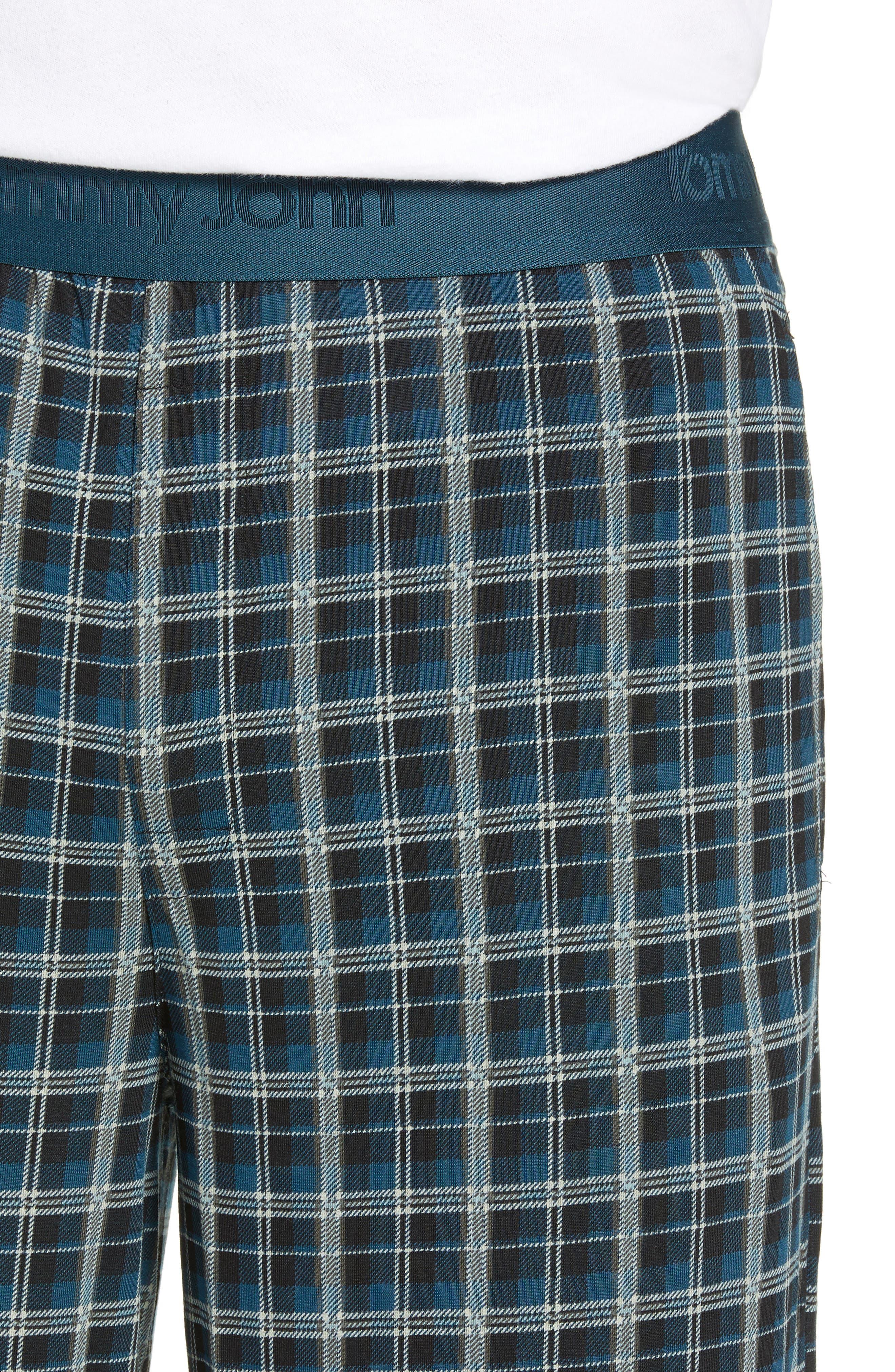 Second Skin Stretch Modal Pajama Pants,                             Alternate thumbnail 4, color,                             REFLECTING POND PLAID