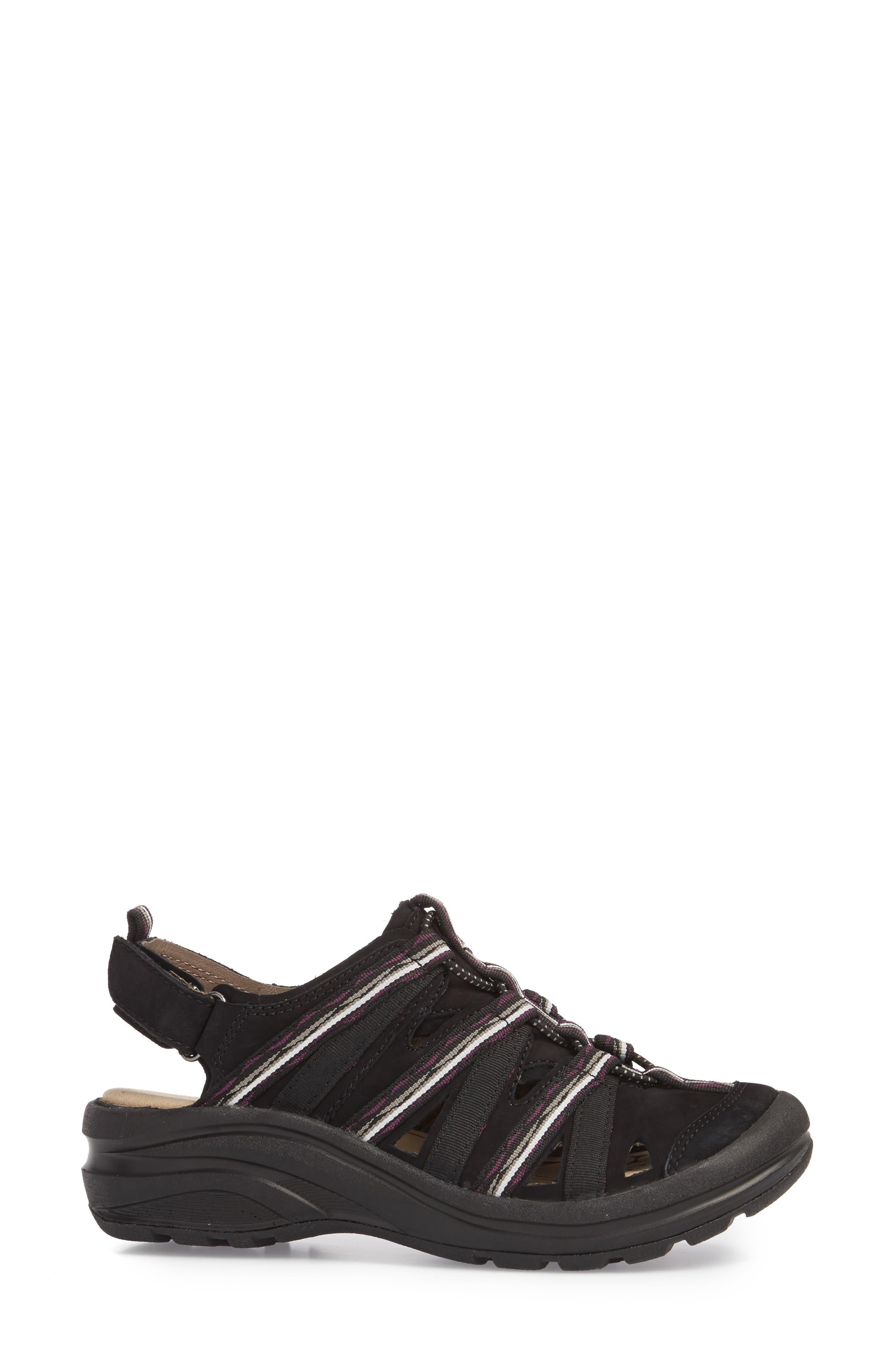 Malabar Sport Sandal,                             Alternate thumbnail 3, color,                             BLACK LEATHER