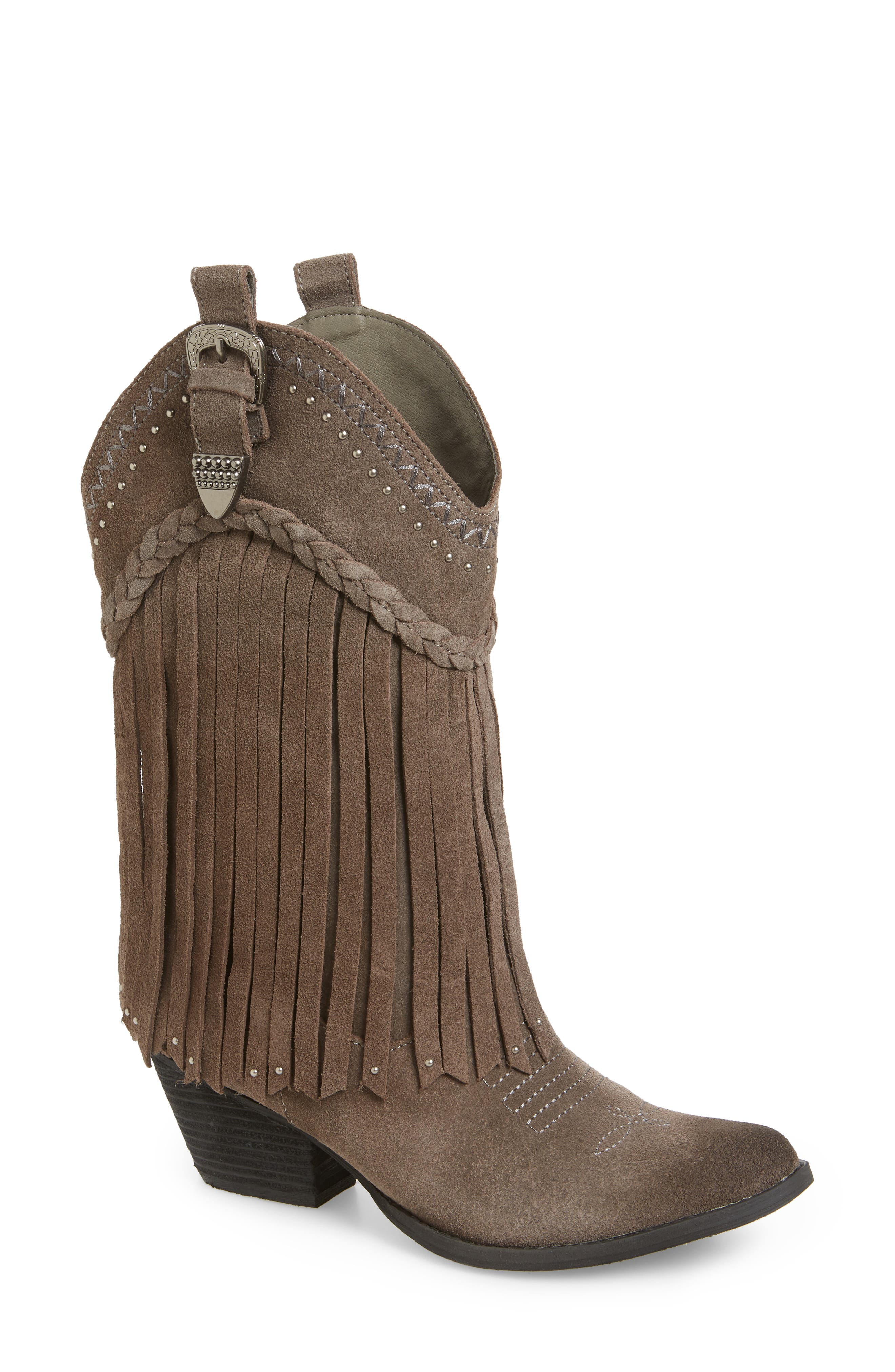 Very Volatile Anderson Fringe Western Boot, Grey