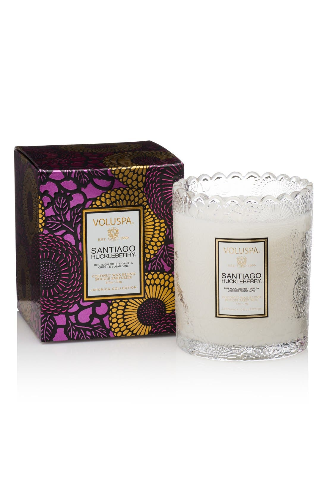 Japonica Santiago Huckleberry Scalloped Edge Embossed Glass Candle,                         Main,                         color, NO COLOR