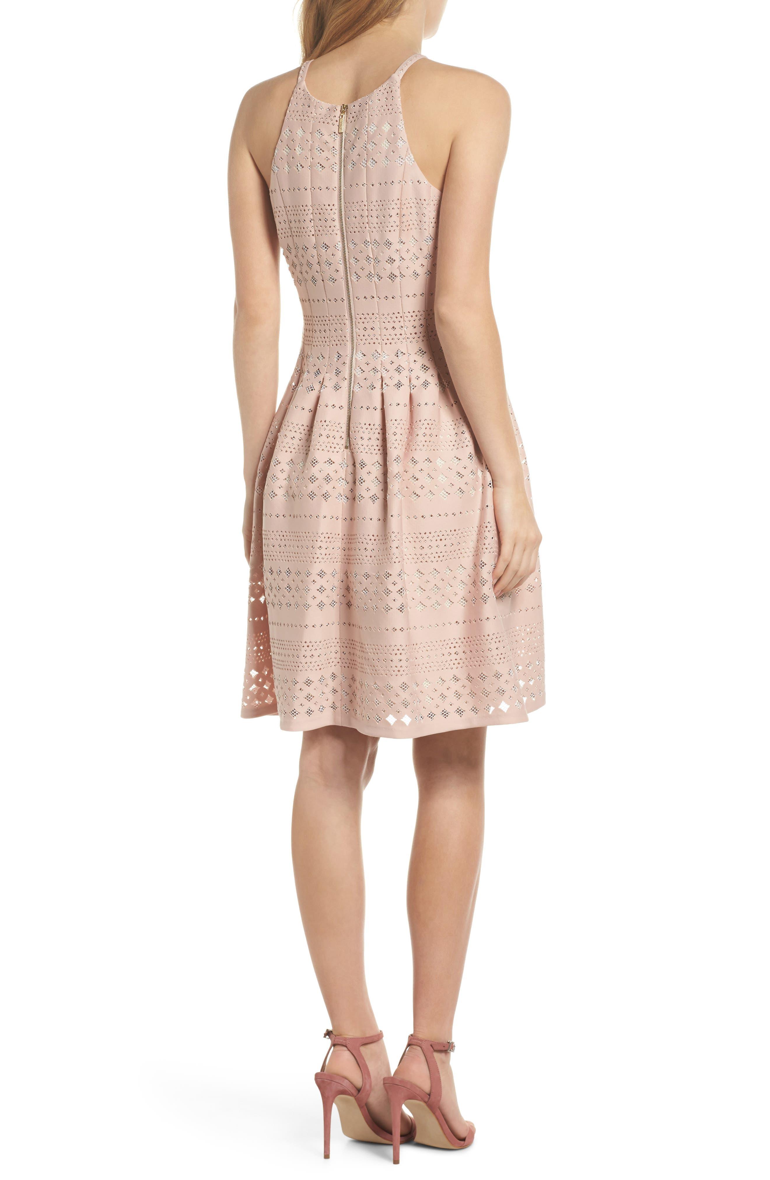 Laser Cut Fit & Flare Halter Dress,                             Alternate thumbnail 5, color,