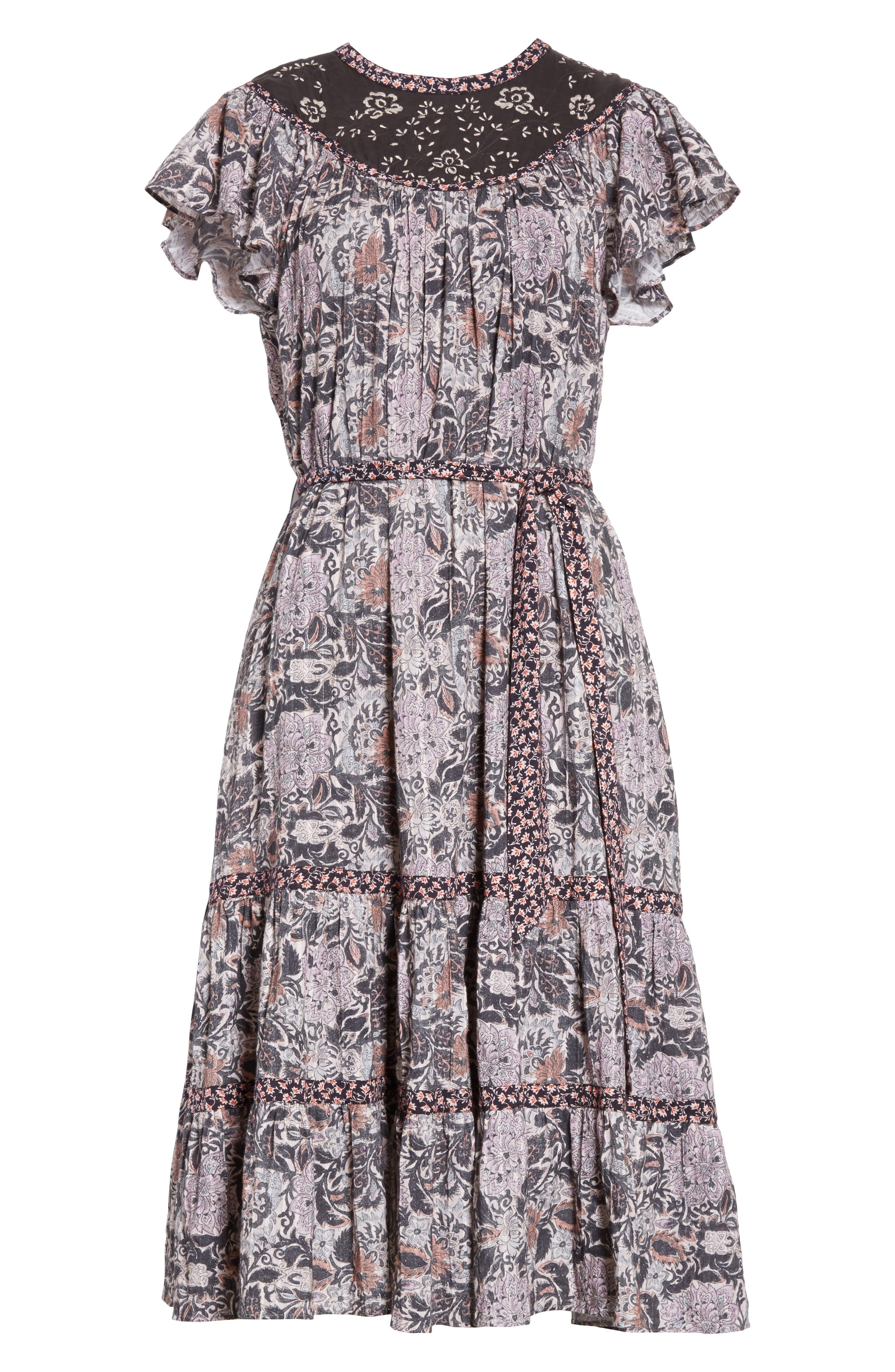 Indochine Embroidered Floral Dress,                             Alternate thumbnail 6, color,                             017
